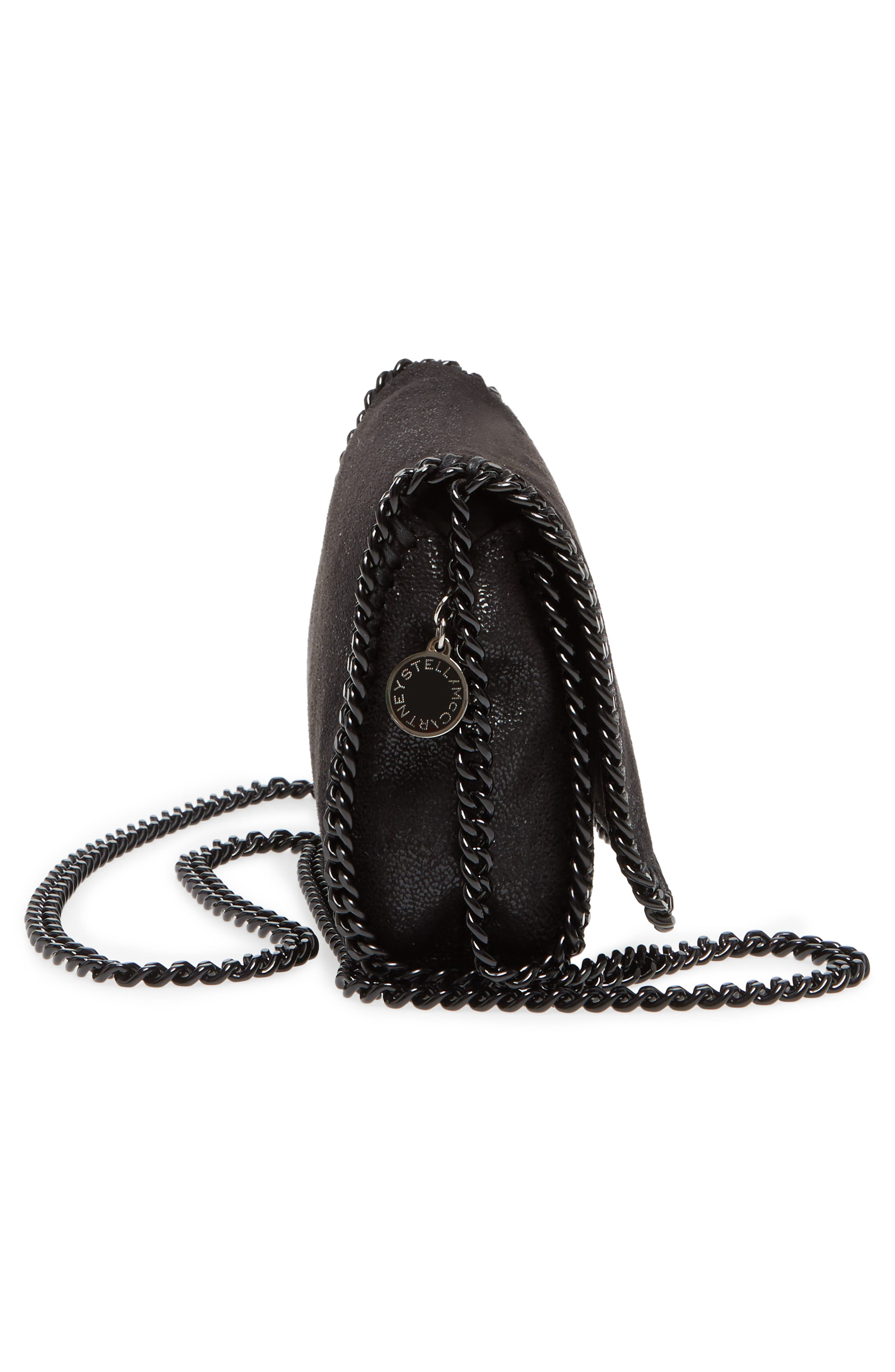 STELLA MCCARTNEY, Falabella Shaggy Deer Faux Leather Clutch, Alternate thumbnail 5, color, BLACK OUT