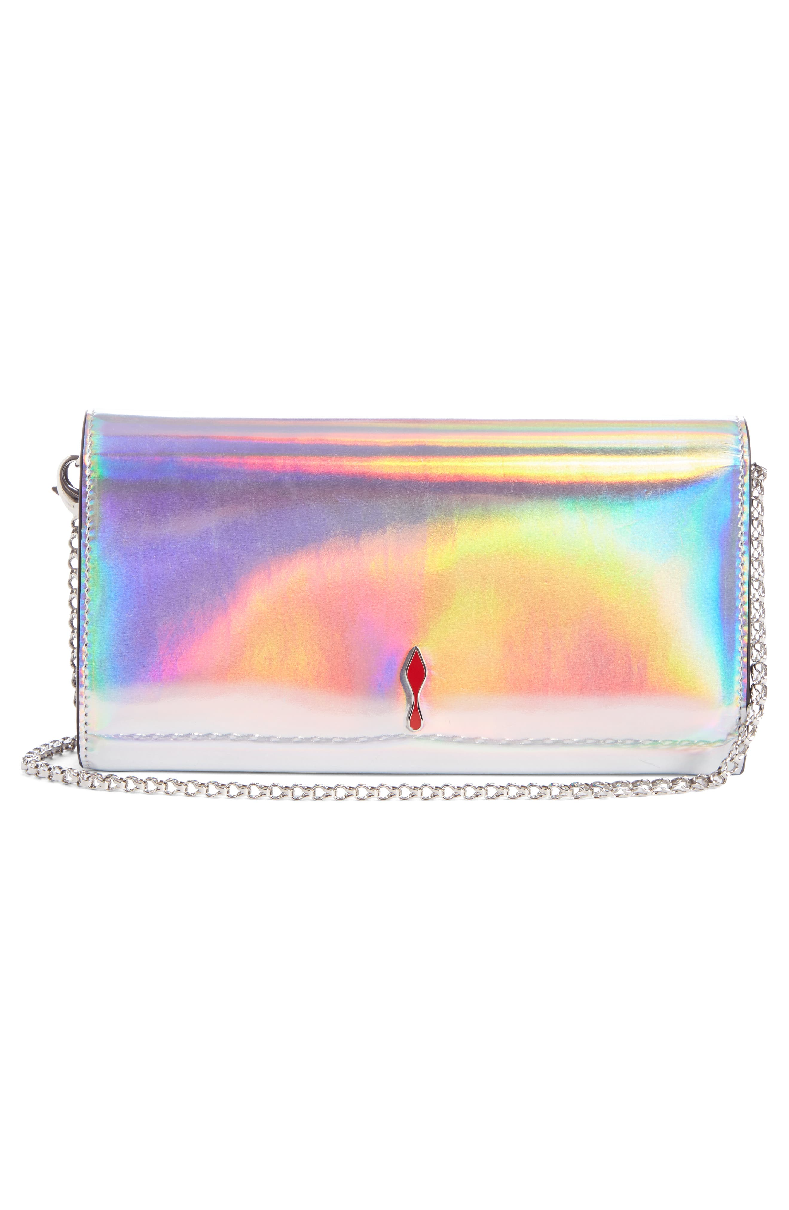 CHRISTIAN LOUBOUTIN, Boudoir Metallic Leather Wallet on a Chain, Alternate thumbnail 2, color, SILVER/ SILVER AB