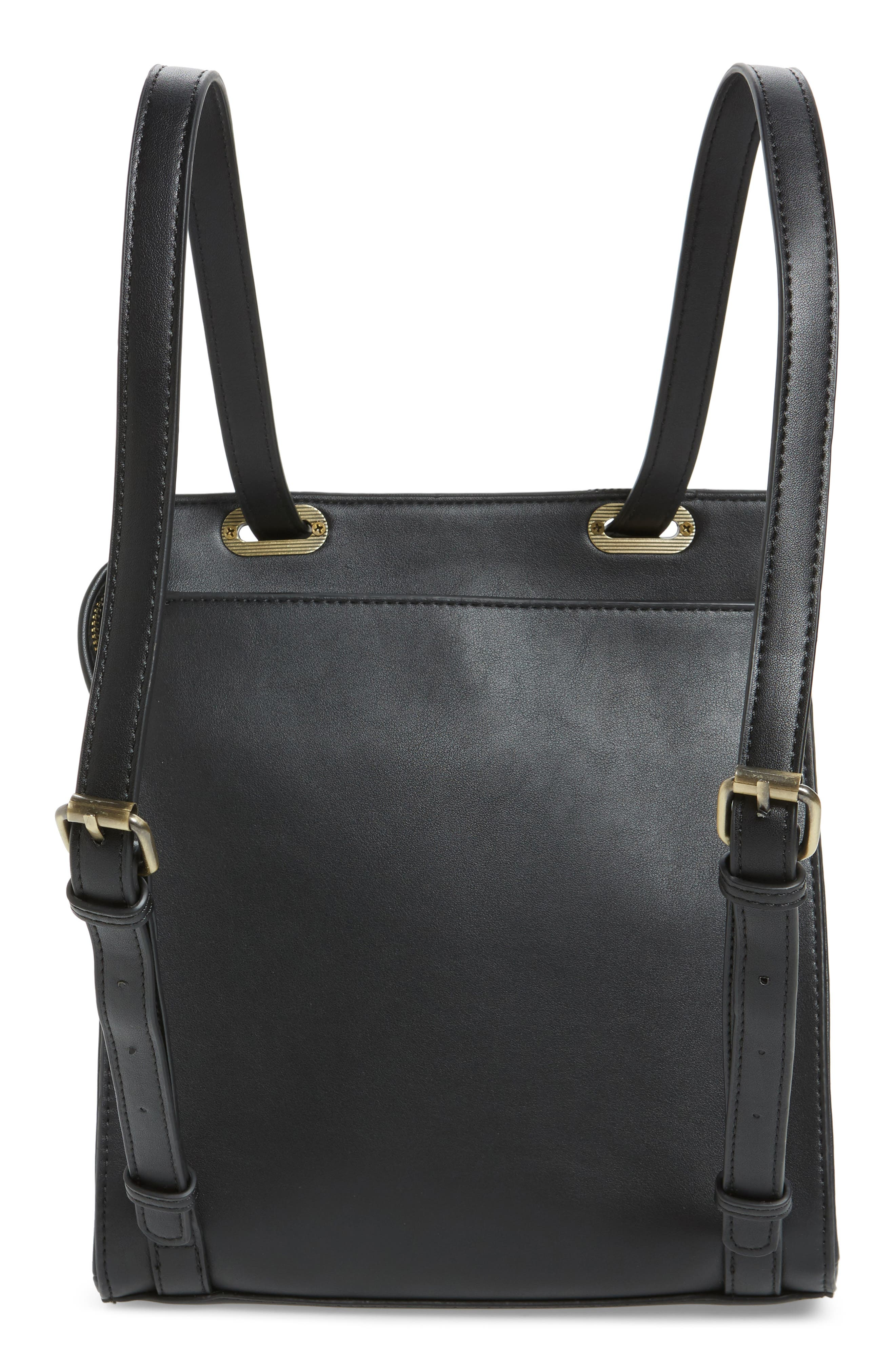 STREET LEVEL, Faux Leather Convertible Backpack, Alternate thumbnail 5, color, 002