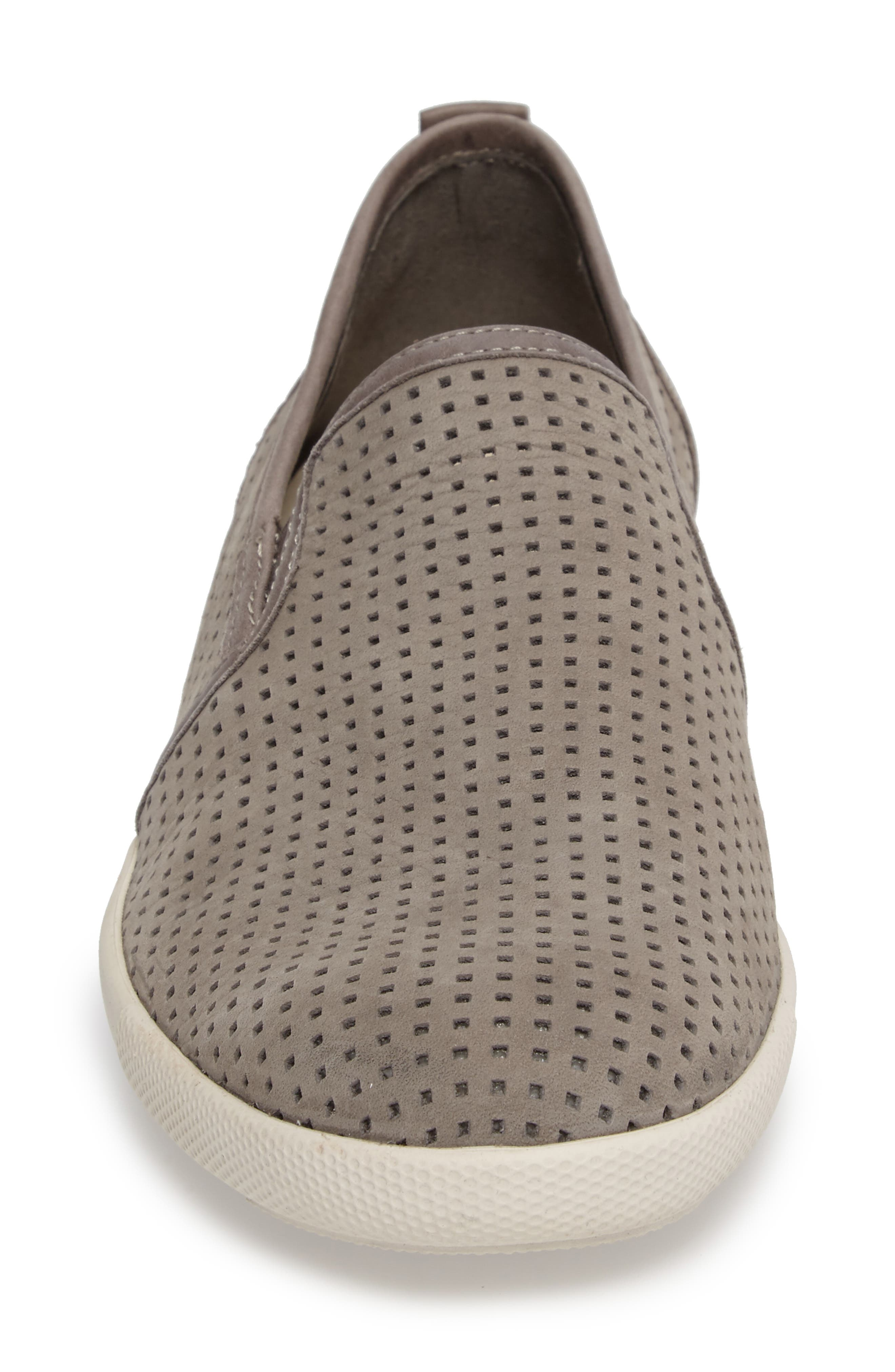 MEPHISTO, 'Ulrich' Perforated Leather Slip-On, Alternate thumbnail 4, color, LIGHT GREY SPORTBUCK