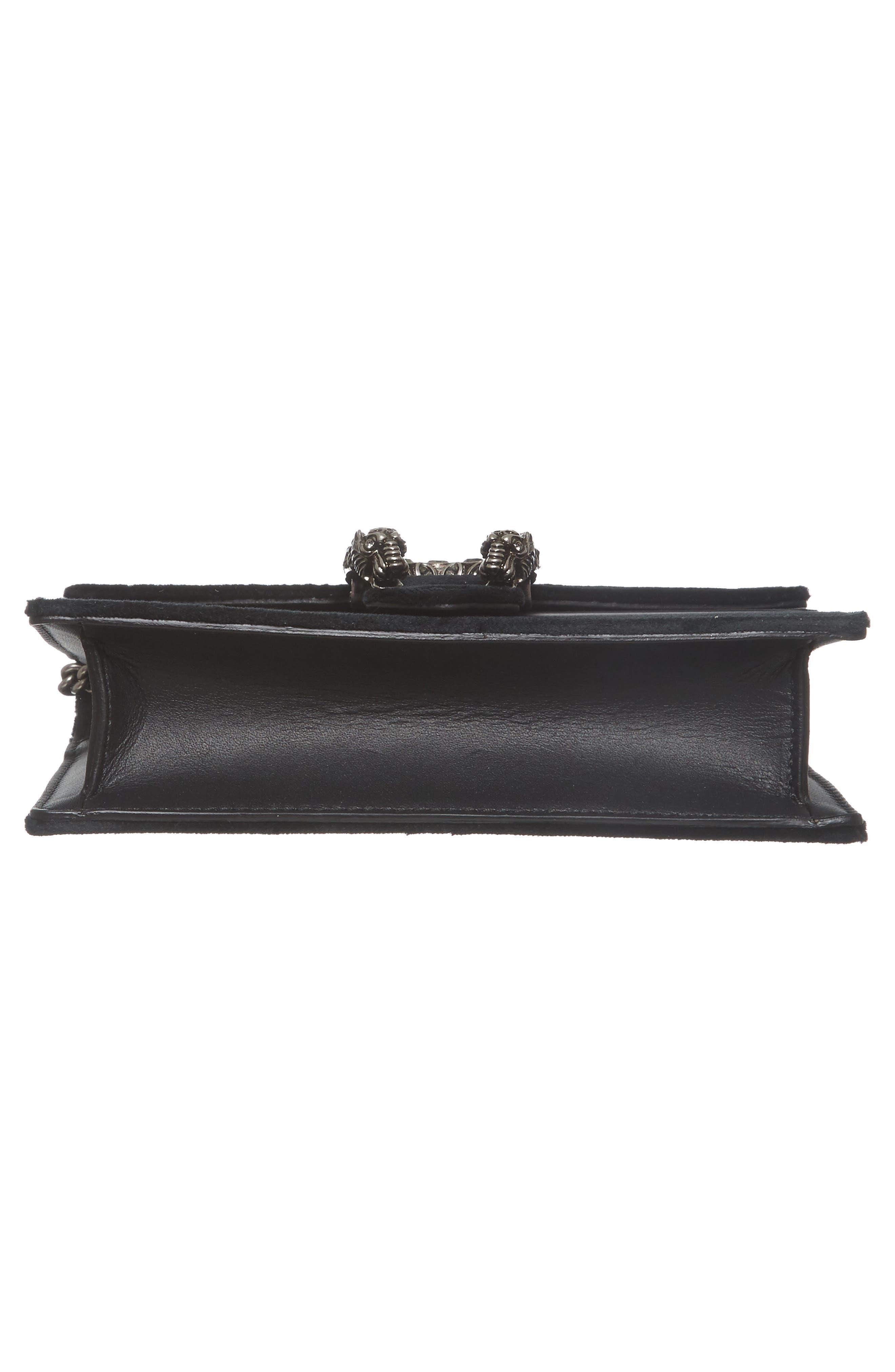 GUCCI, Super Mini Dionysus Velvet Shoulder Bag, Alternate thumbnail 6, color, NERO