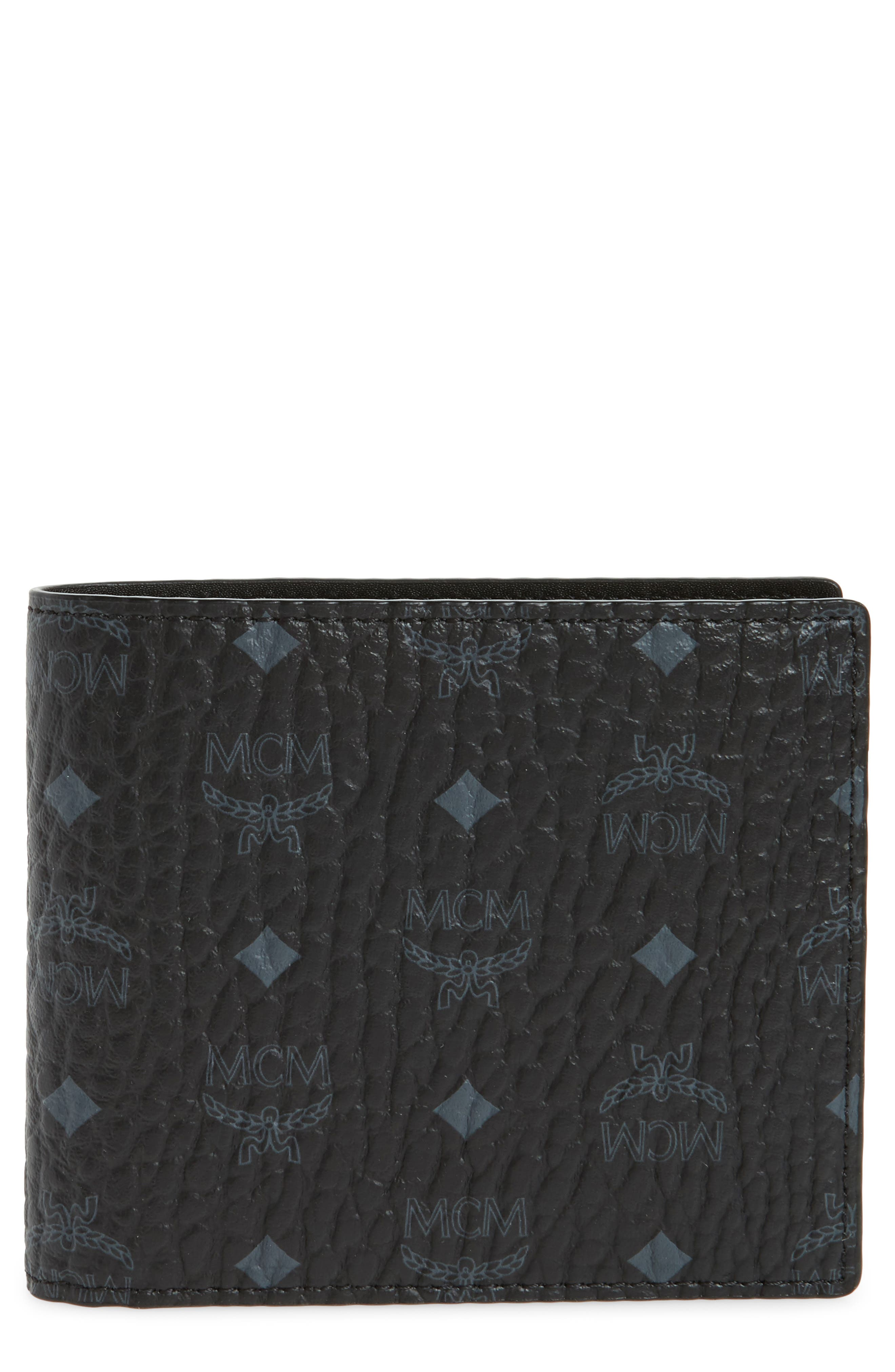 MCM Logo Coated Canvas & Leather Wallet, Main, color, BLACK