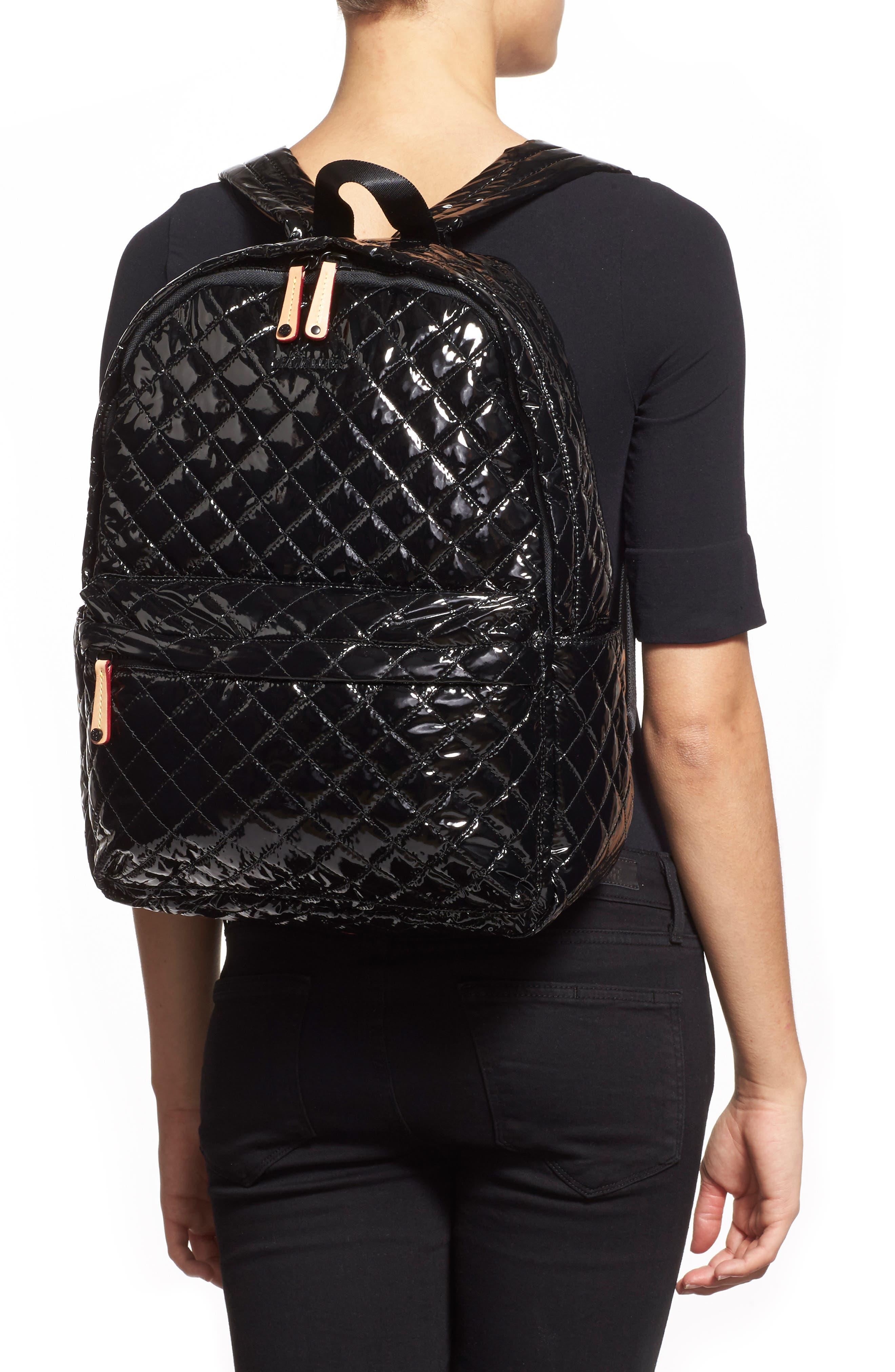 MZ WALLACE, Metro Backpack, Alternate thumbnail 9, color, BLACK LACQUER QUILTED
