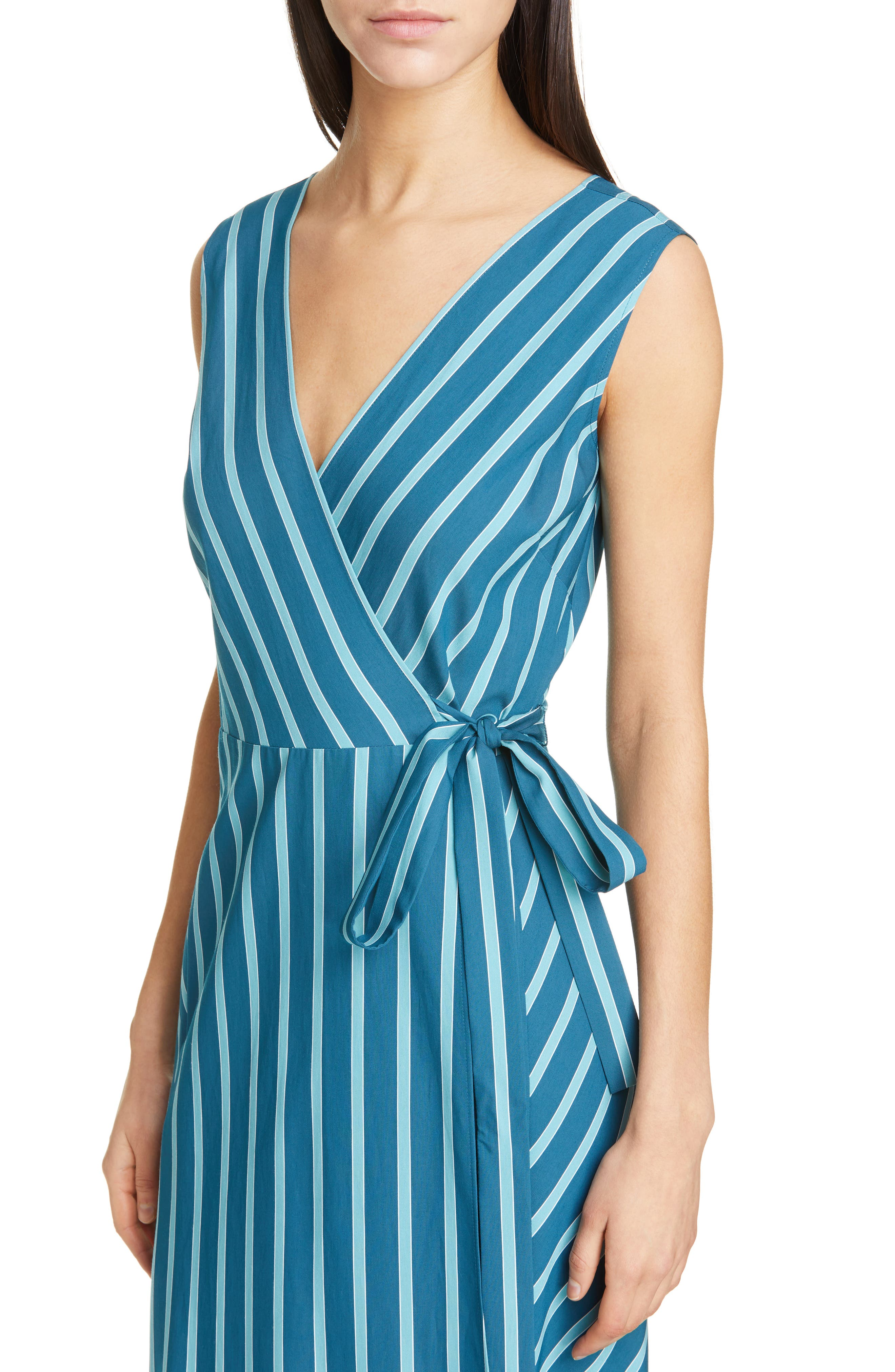 LAFAYETTE 148 NEW YORK, Siri Wrap Dress, Alternate thumbnail 5, color, PACIFIC MULTI
