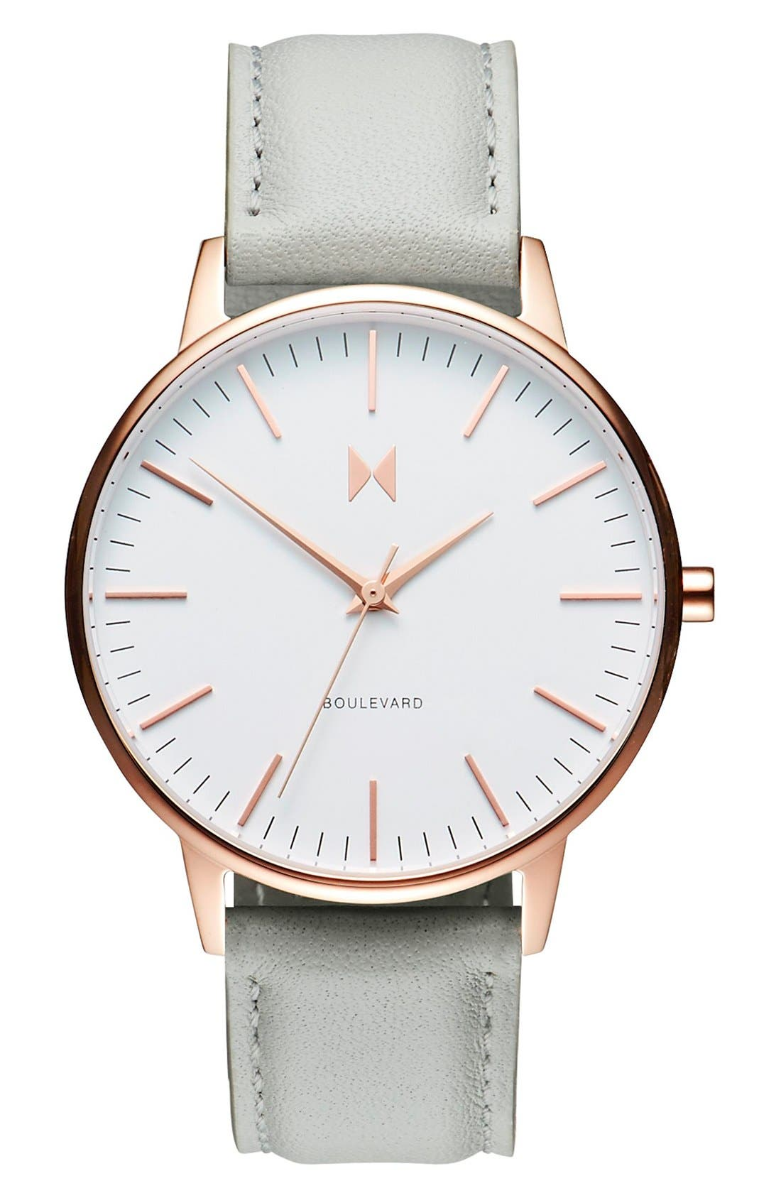 MVMT, Boulevard Leather Strap Watch, 38mm, Main thumbnail 1, color, GREY/ WHITE/ ROSE GOLD