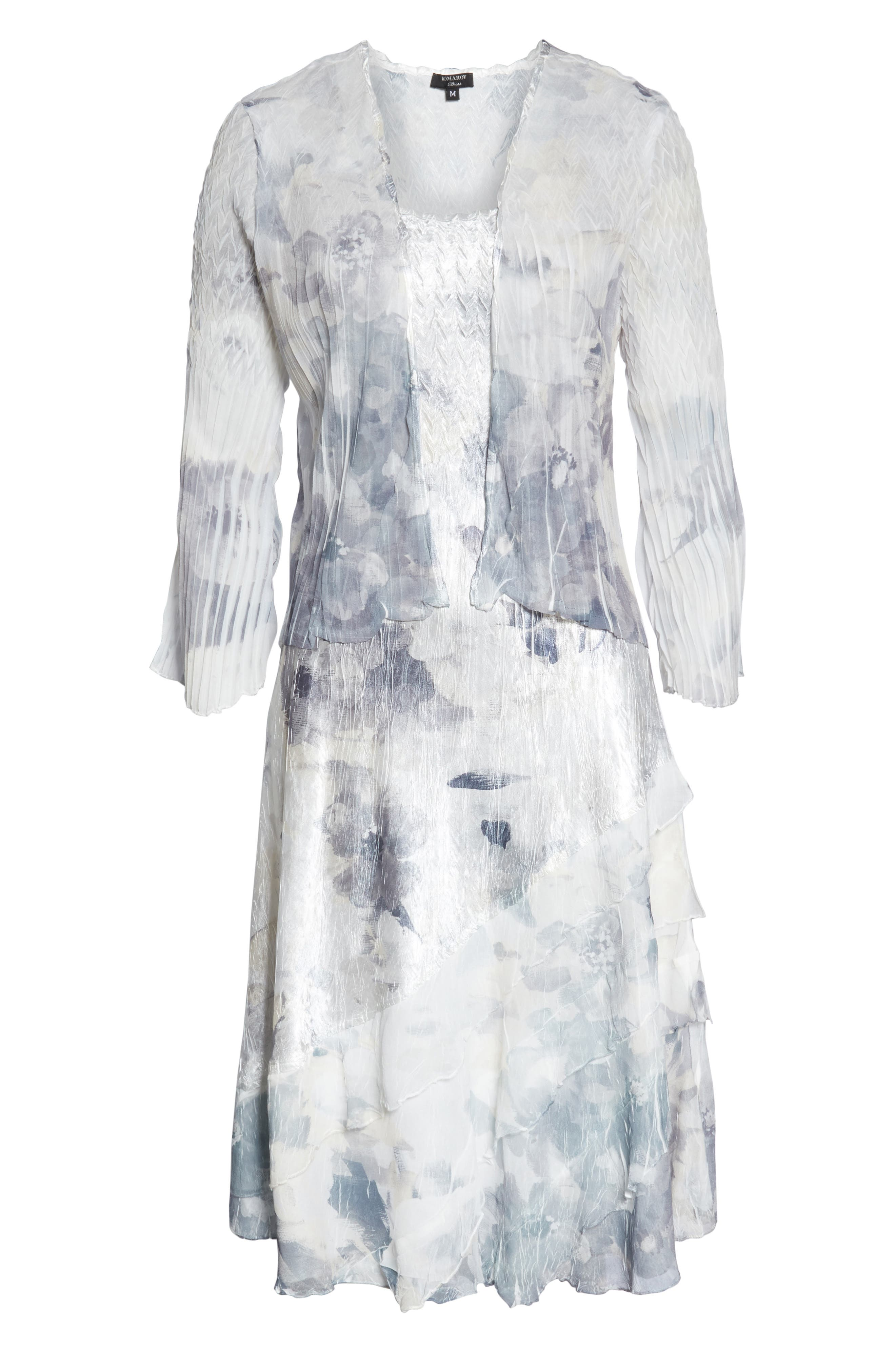 KOMAROV, Floral Charmeuse & Chiffon Dress with Jacket, Alternate thumbnail 6, color, FROSTED PETAL