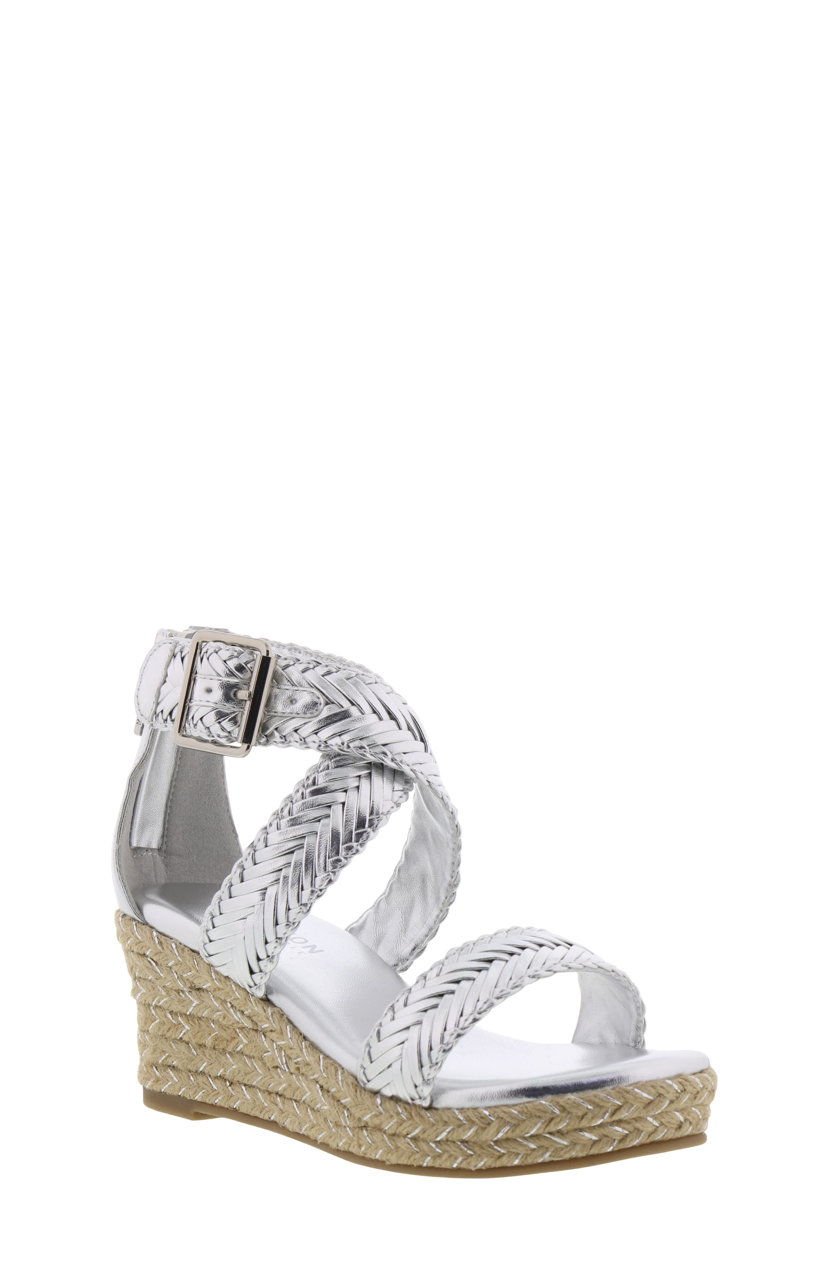REACTION KENNETH COLE, Reed Sway Metallic Wedge Sandal, Main thumbnail 1, color, SILVER