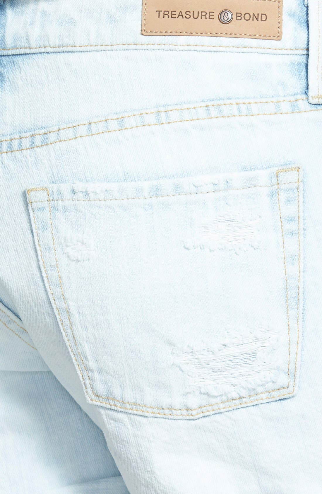 TREASURE & BOND, Treasure&Bond Roll-Up Denim Boyfriend Shorts, Alternate thumbnail 2, color, 400