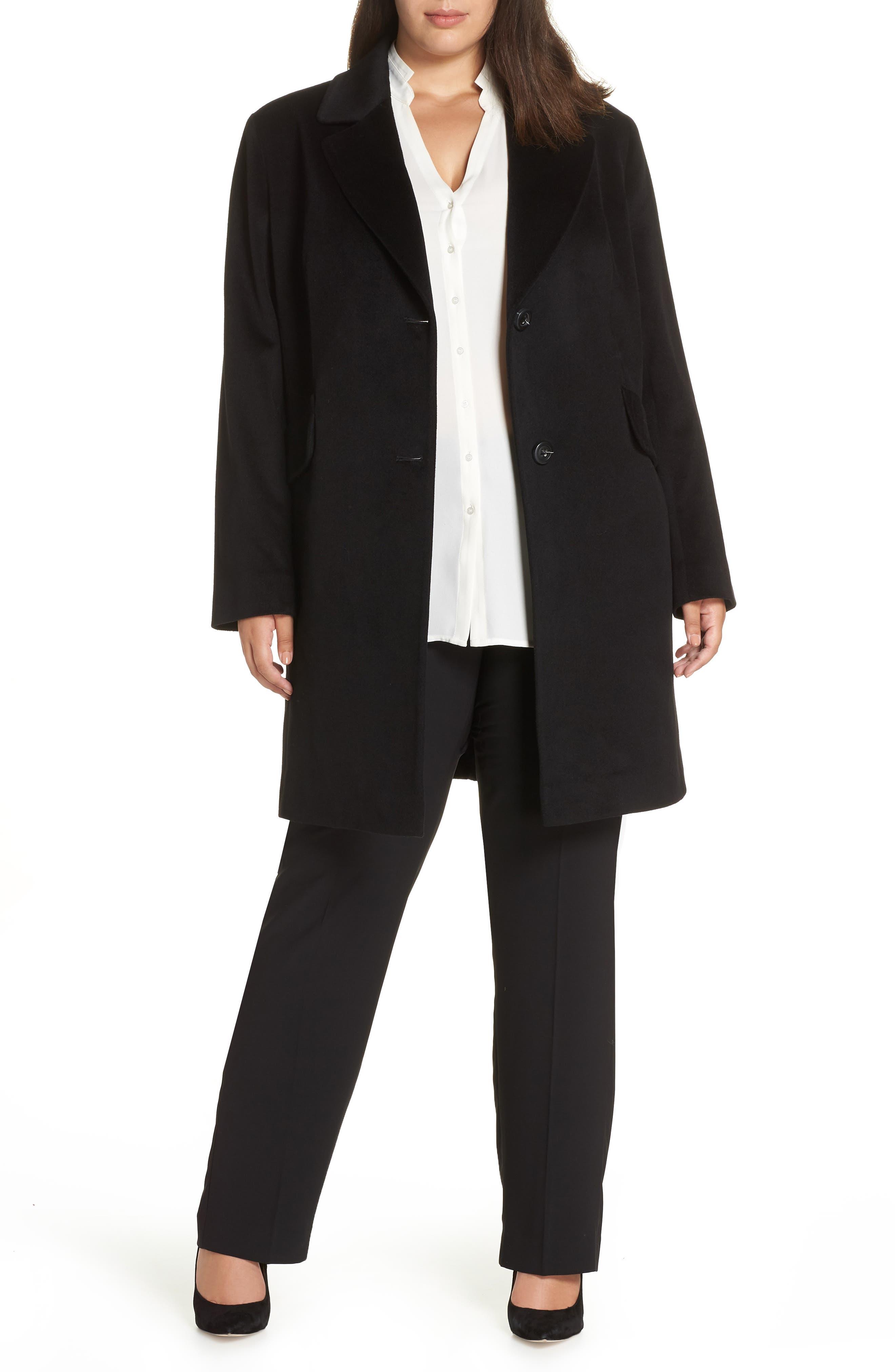 FLEURETTE, Notch Collar Loro Piana Wool Coat, Main thumbnail 1, color, BLACK