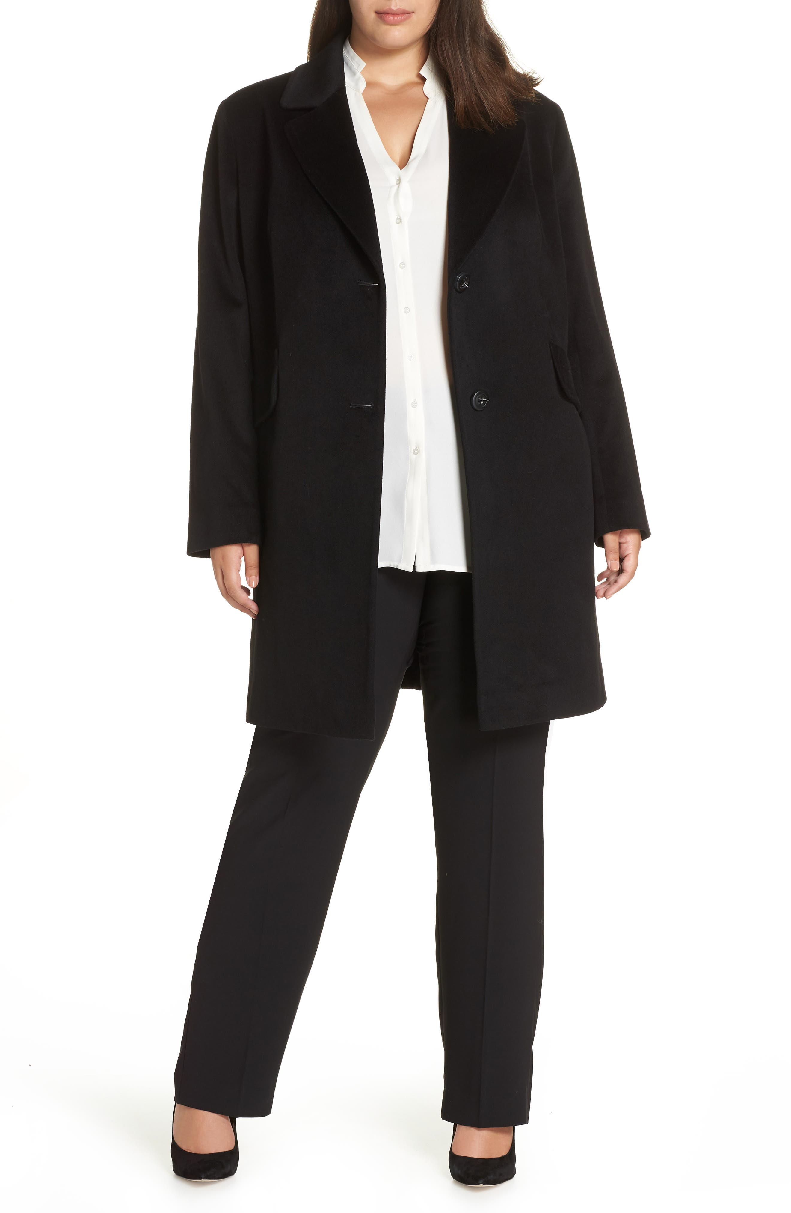 FLEURETTE Notch Collar Loro Piana Wool Coat, Main, color, BLACK