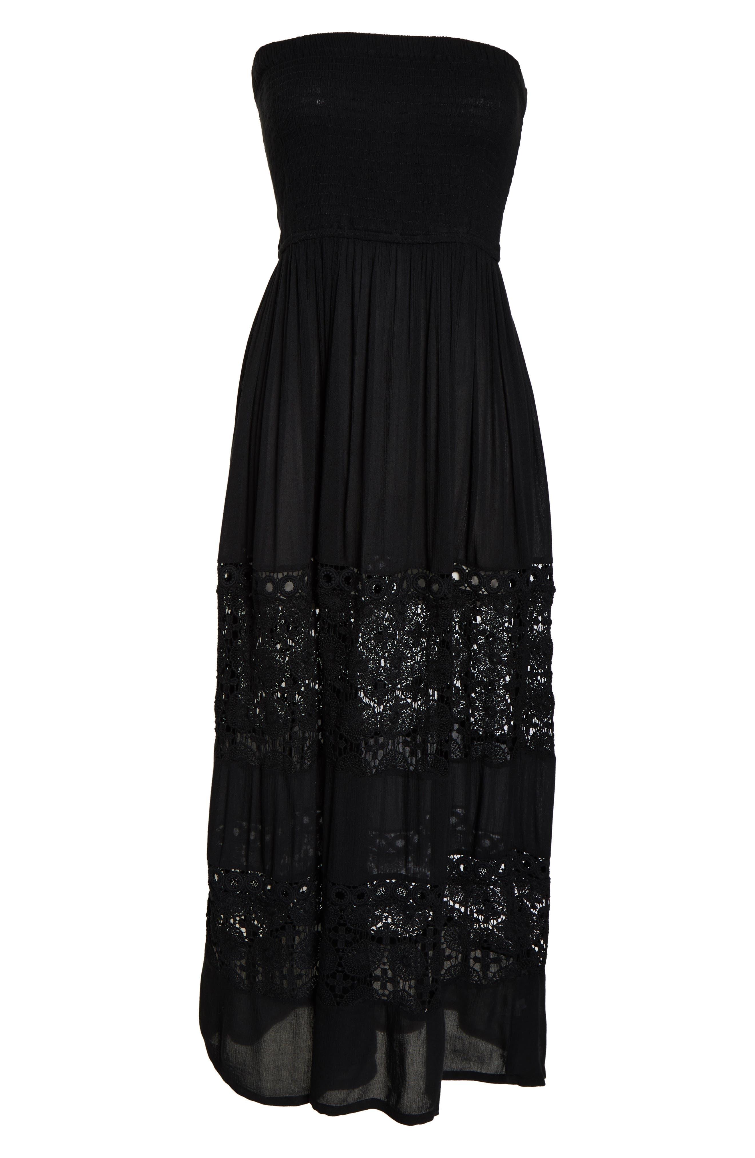 CHELSEA28, Farrah Smocked Cover-Up Maxi Dress, Alternate thumbnail 7, color, BLACK