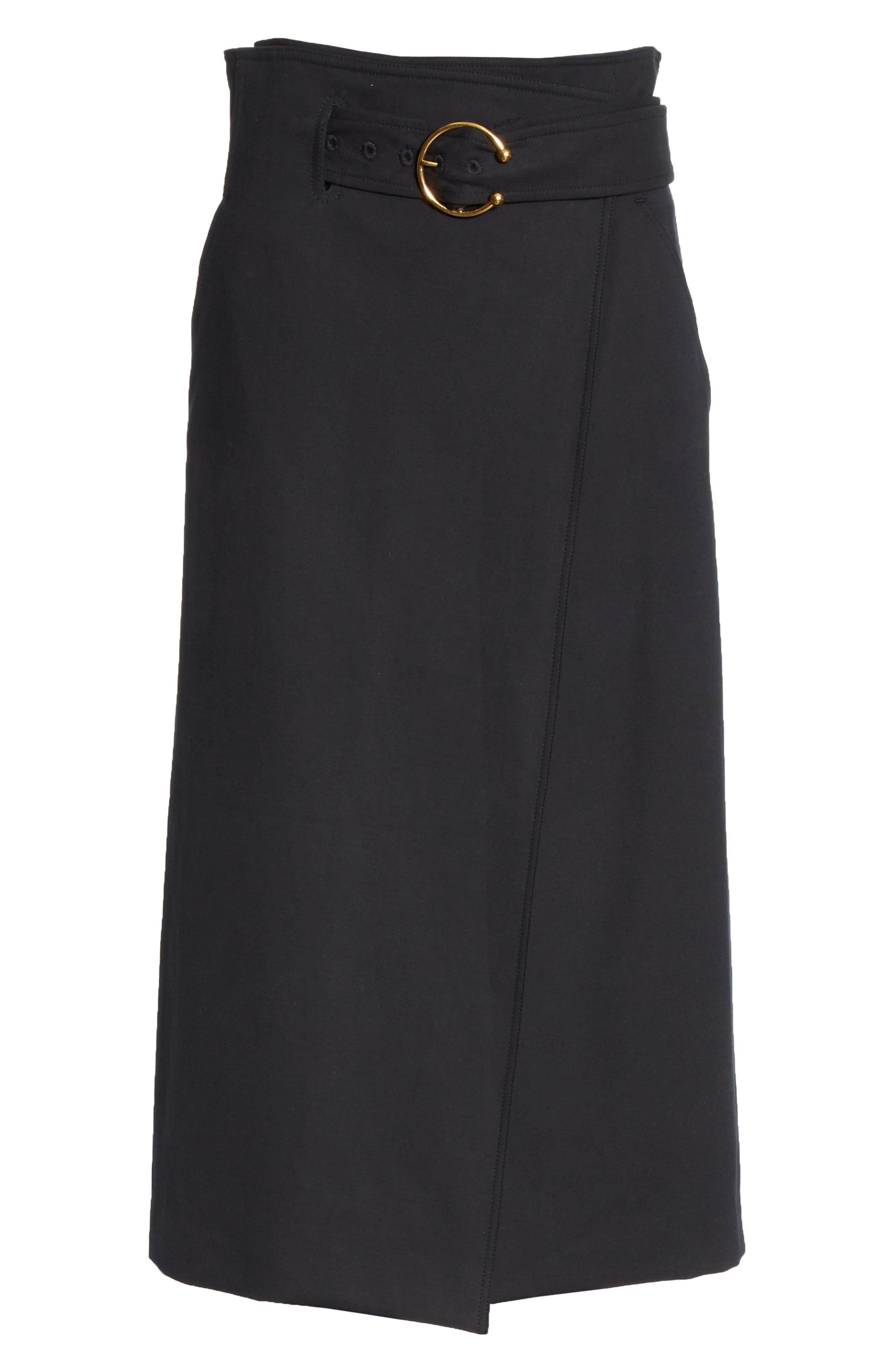 A.L.C., Aldridge Belted Midi Skirt, Alternate thumbnail 6, color, VINTAGE BLACK