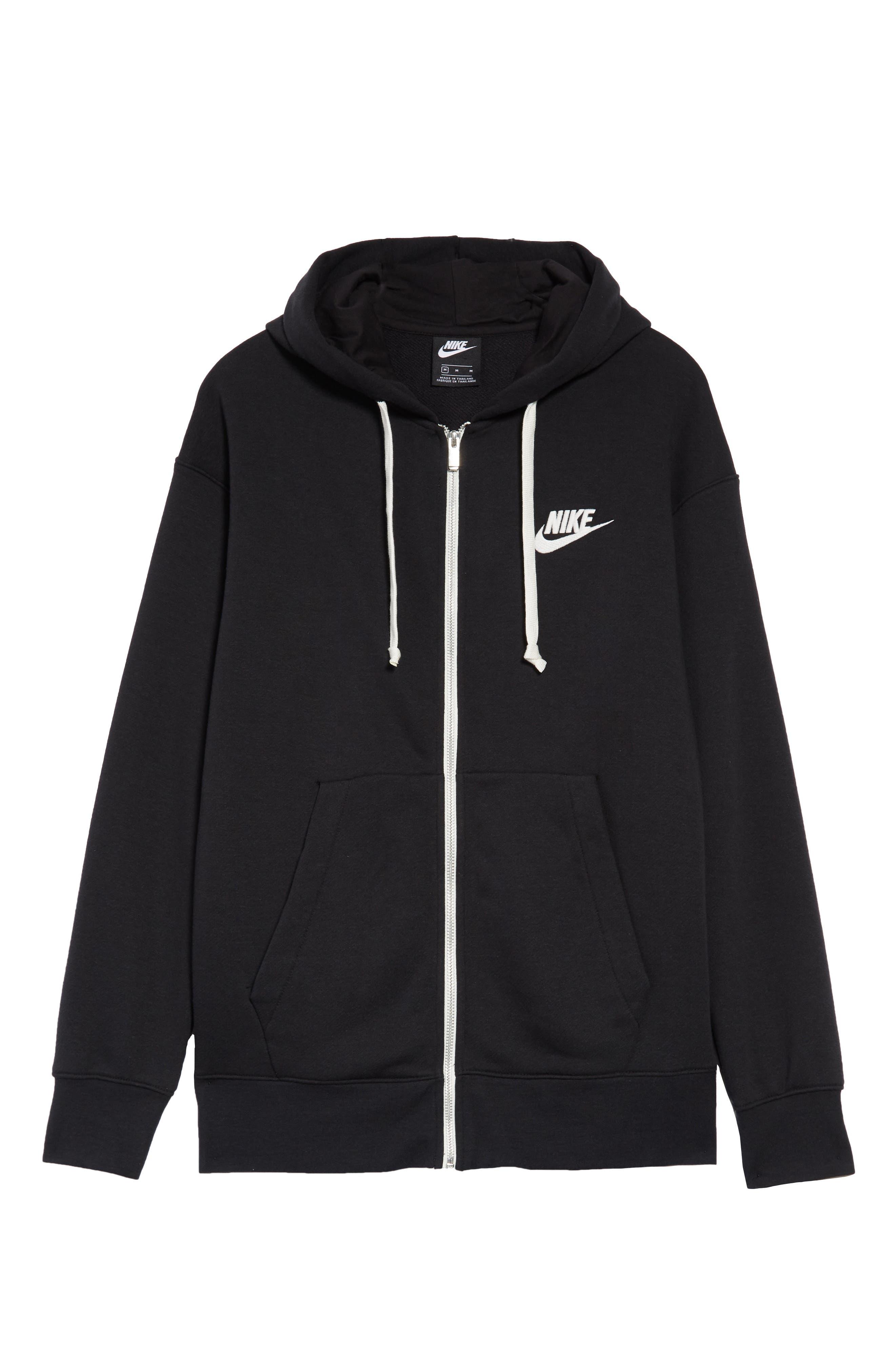 NIKE, Sportswear Heritage Zip Hoodie, Alternate thumbnail 6, color, BLACK/ SAIL