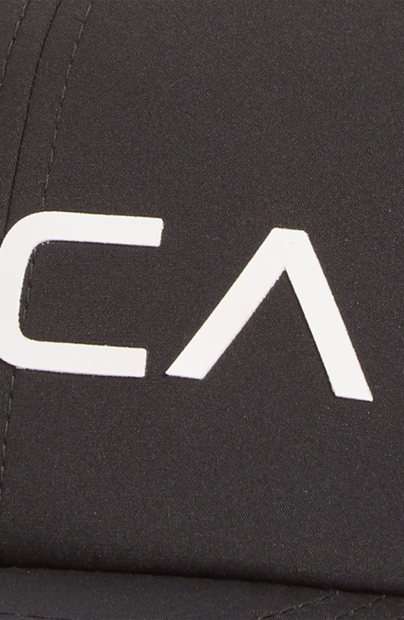 RVCA, VA Tech Snapback Baseball Cap, Alternate thumbnail 3, color, BLACK