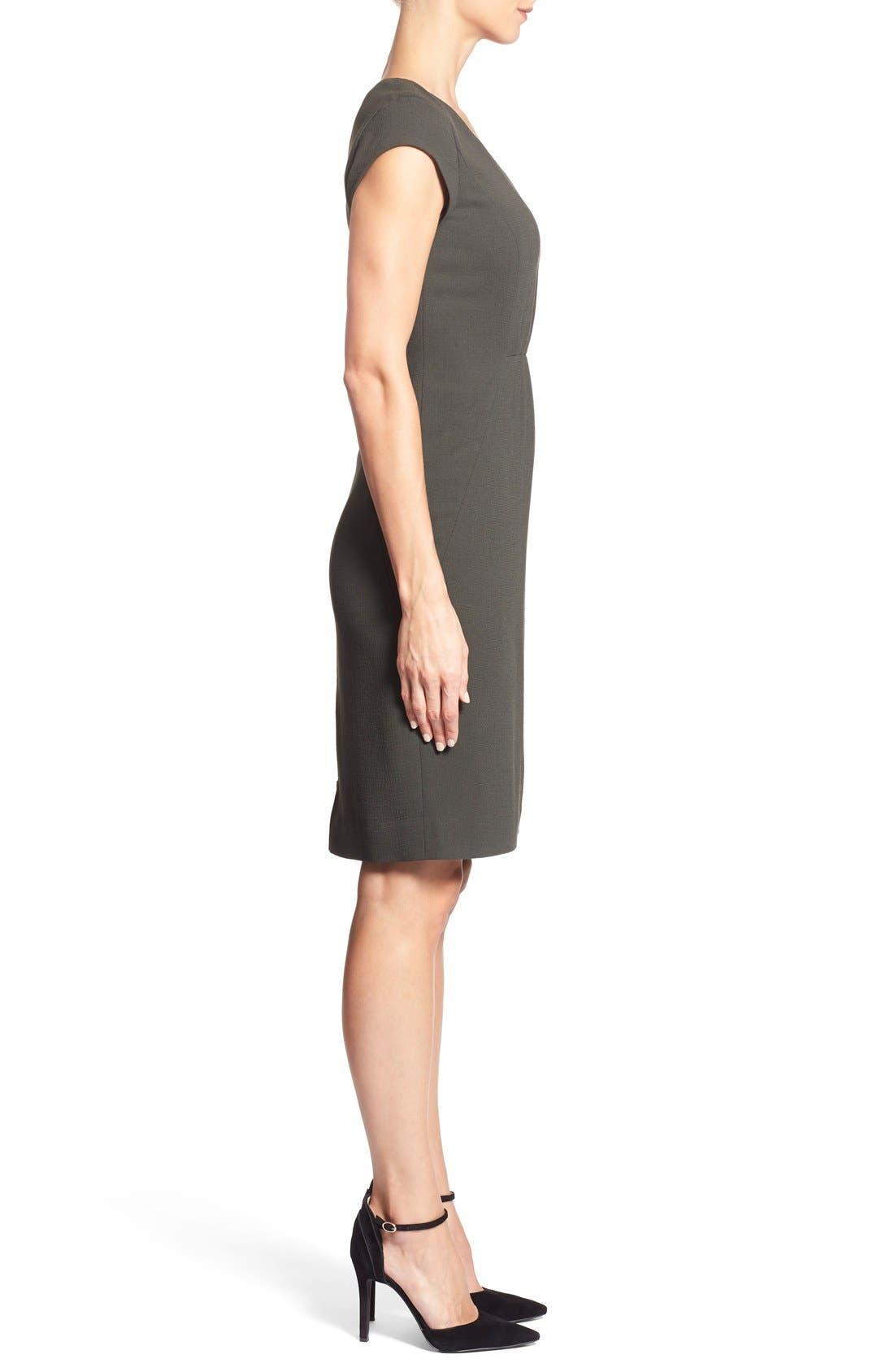 CLASSIQUES ENTIER<SUP>®</SUP>, V-Neck Double Cloth Sheath Dress, Alternate thumbnail 4, color, 301