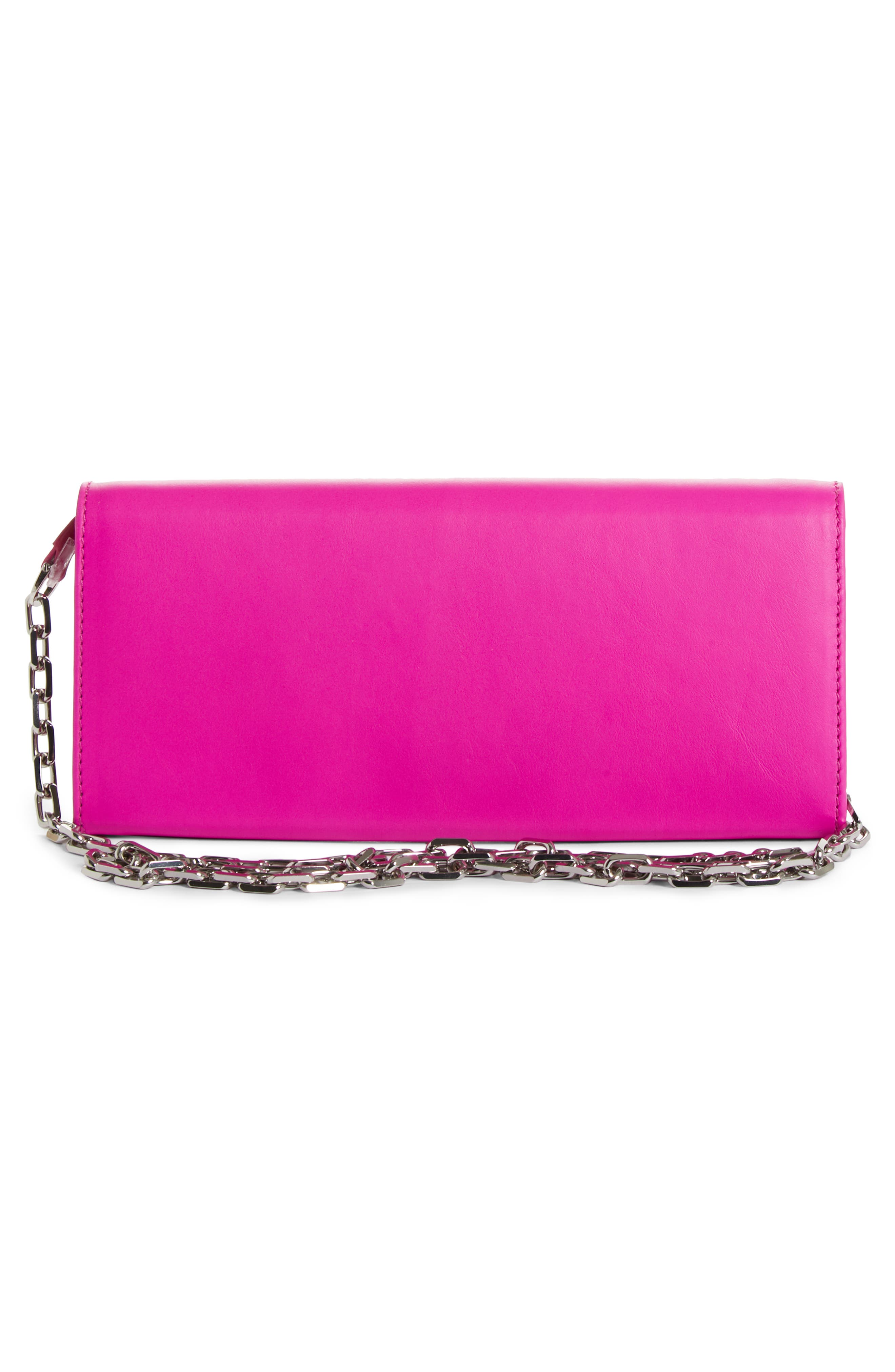 CALVIN KLEIN 205W39NYC, Leather Wallet on a Chain, Alternate thumbnail 3, color, SHOCKING