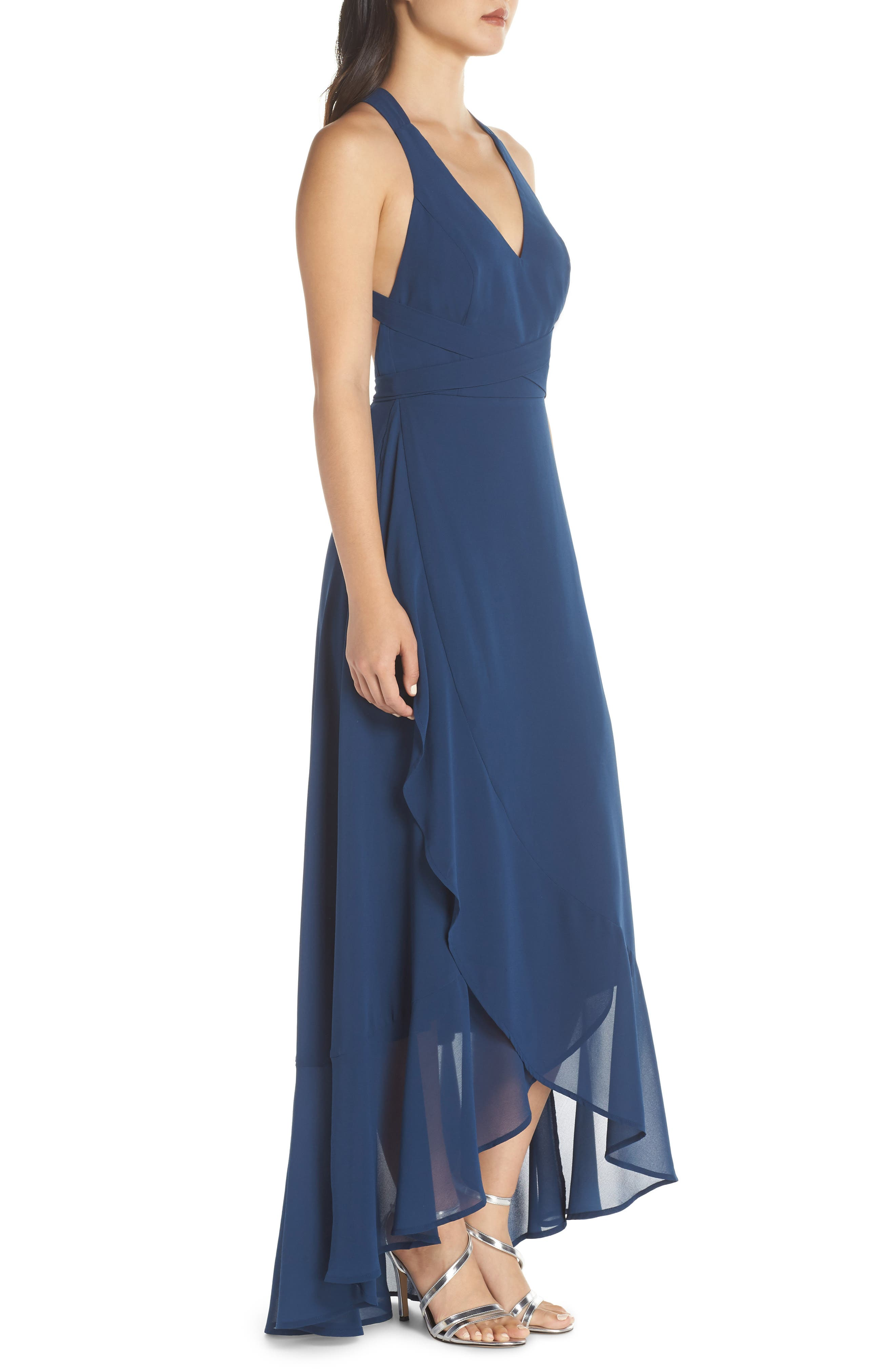 LULUS, Wrap of Luxury Convertible Gown, Alternate thumbnail 4, color, NAVY