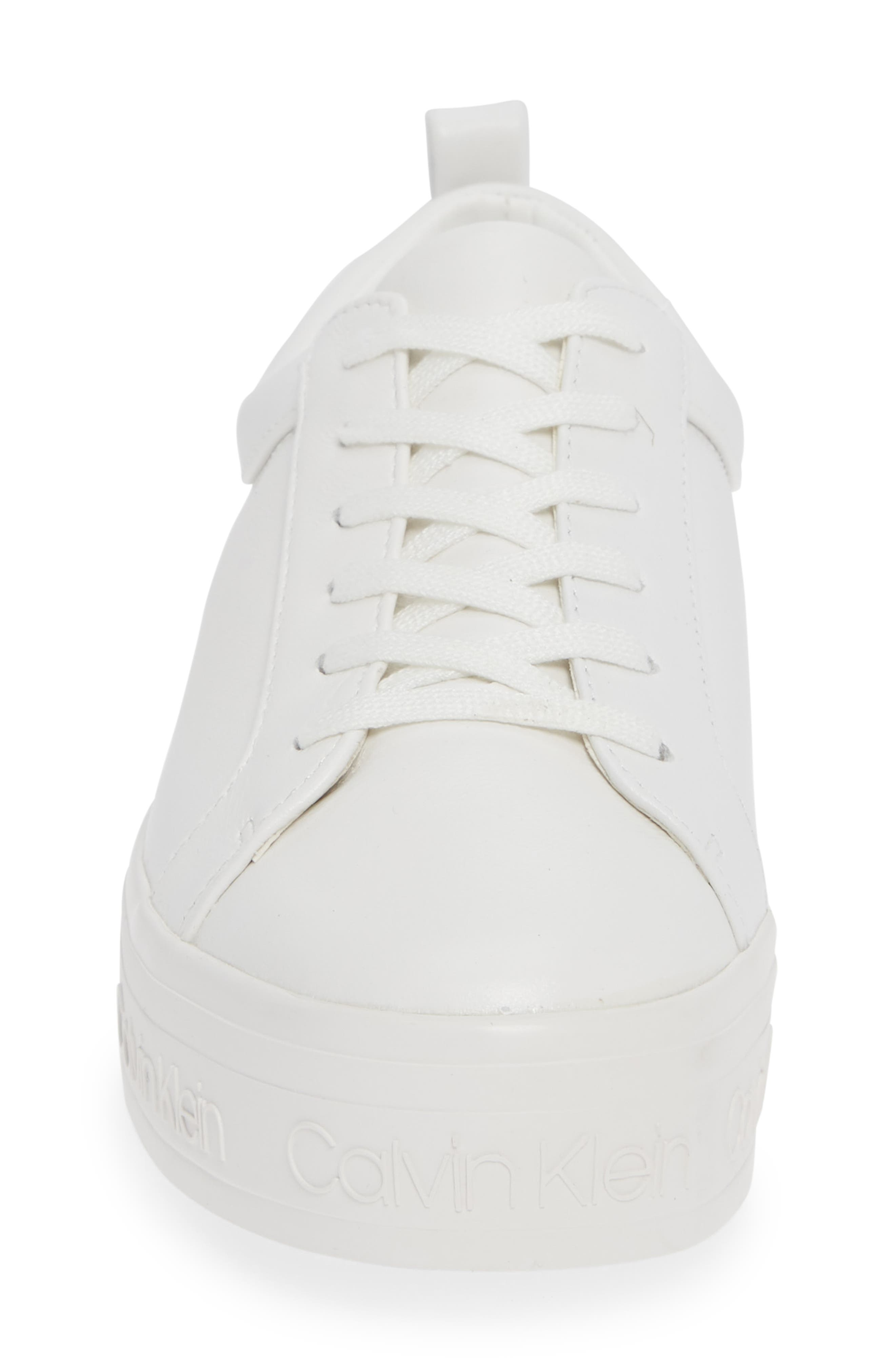 CALVIN KLEIN, Jaelee Sneaker, Alternate thumbnail 4, color, WHITE NAPPA LEATHER