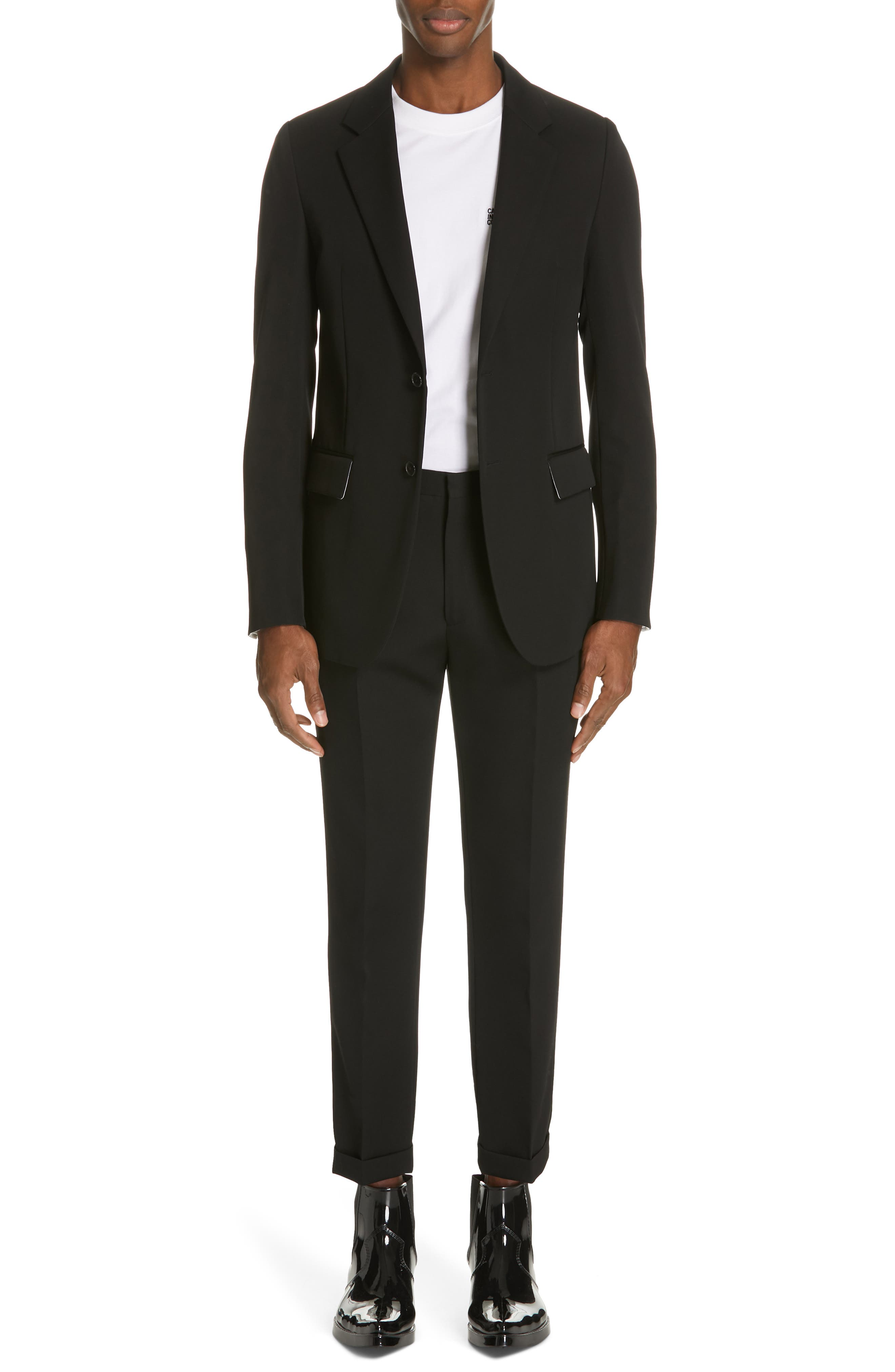 CALVIN KLEIN 205W39NYC, Pleated Gabardine Wool Trousers, Alternate thumbnail 7, color, BLACK