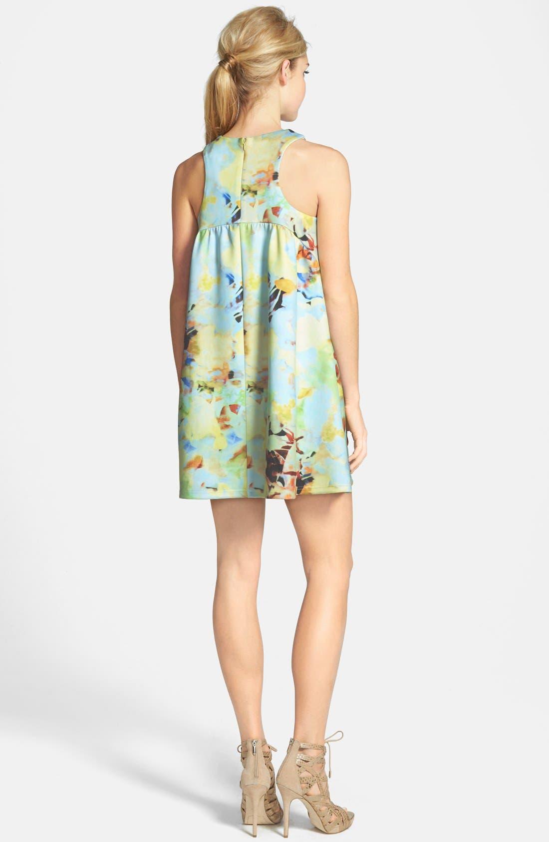 J.O.A., Abstract Floral Print Mini Dress, Alternate thumbnail 2, color, 650