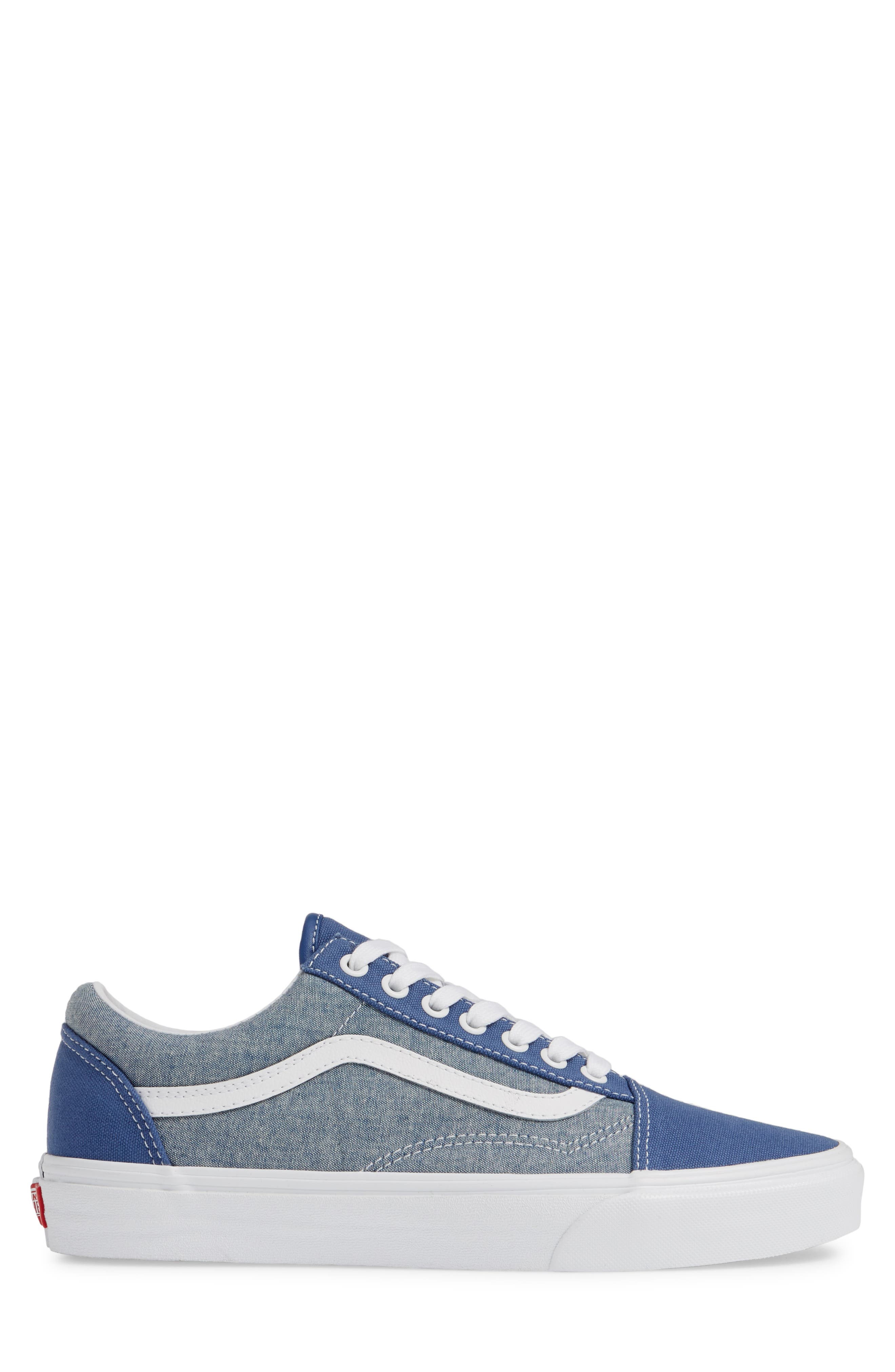 VANS, Old Skool Sneaker, Alternate thumbnail 3, color, CANVAS NAVY/ WHITE CHAMBRAY