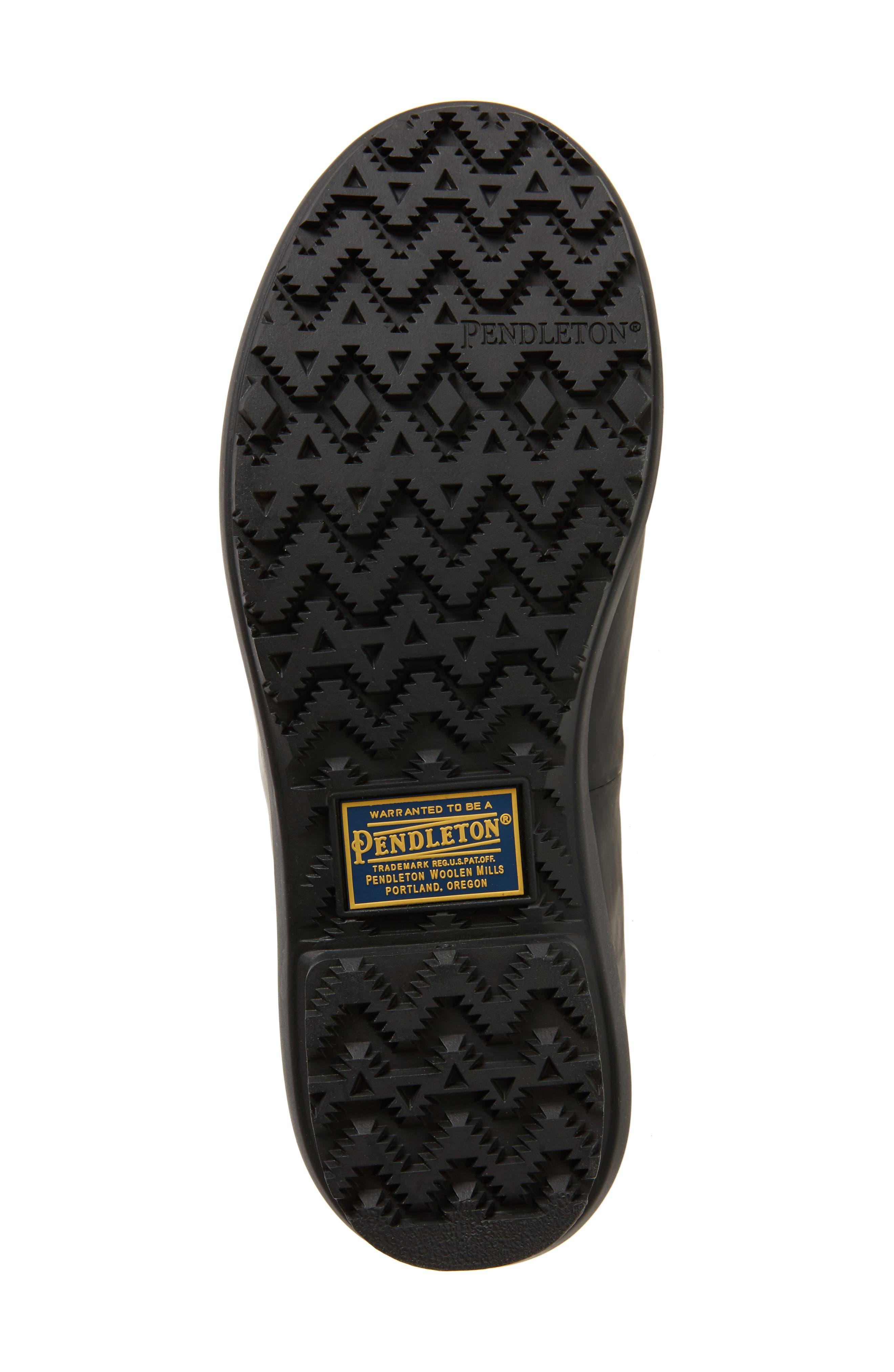 PENDLETON, Embossed Tall Waterproof Rain Boot, Alternate thumbnail 6, color, BLACK