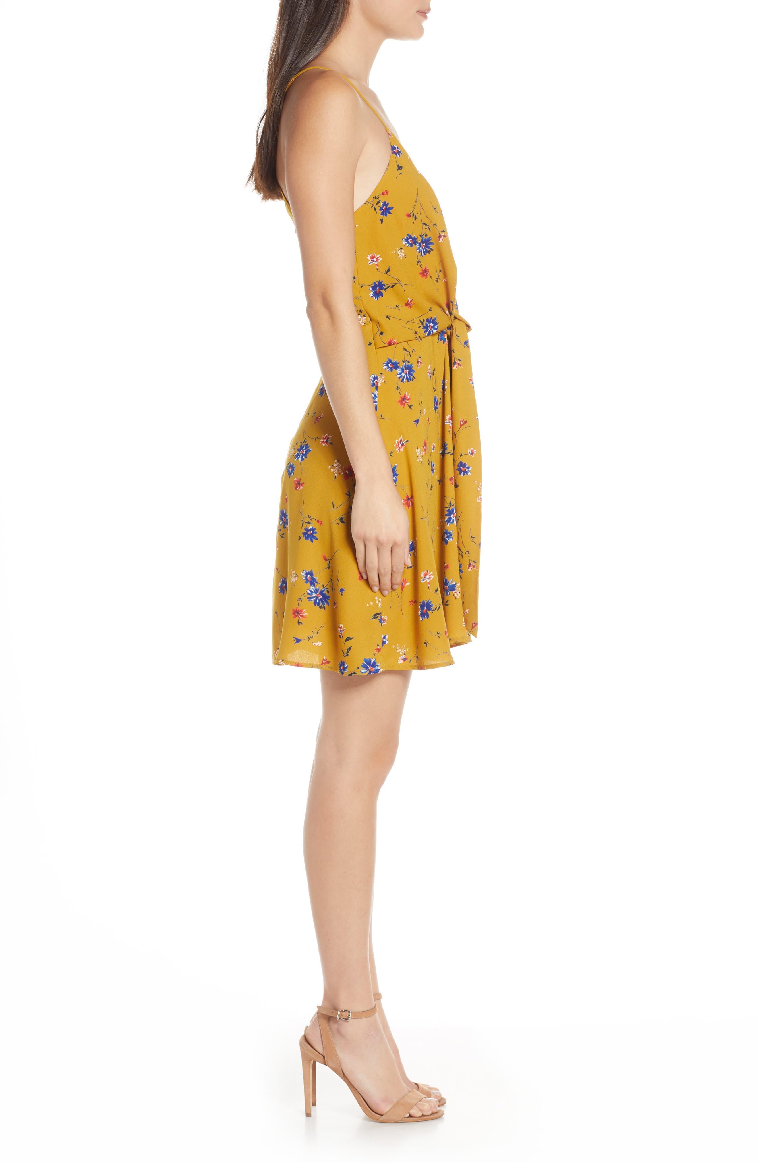 19 COOPER, Floral Print Tie Front Dress, Alternate thumbnail 4, color, MUSTARD FLORAL
