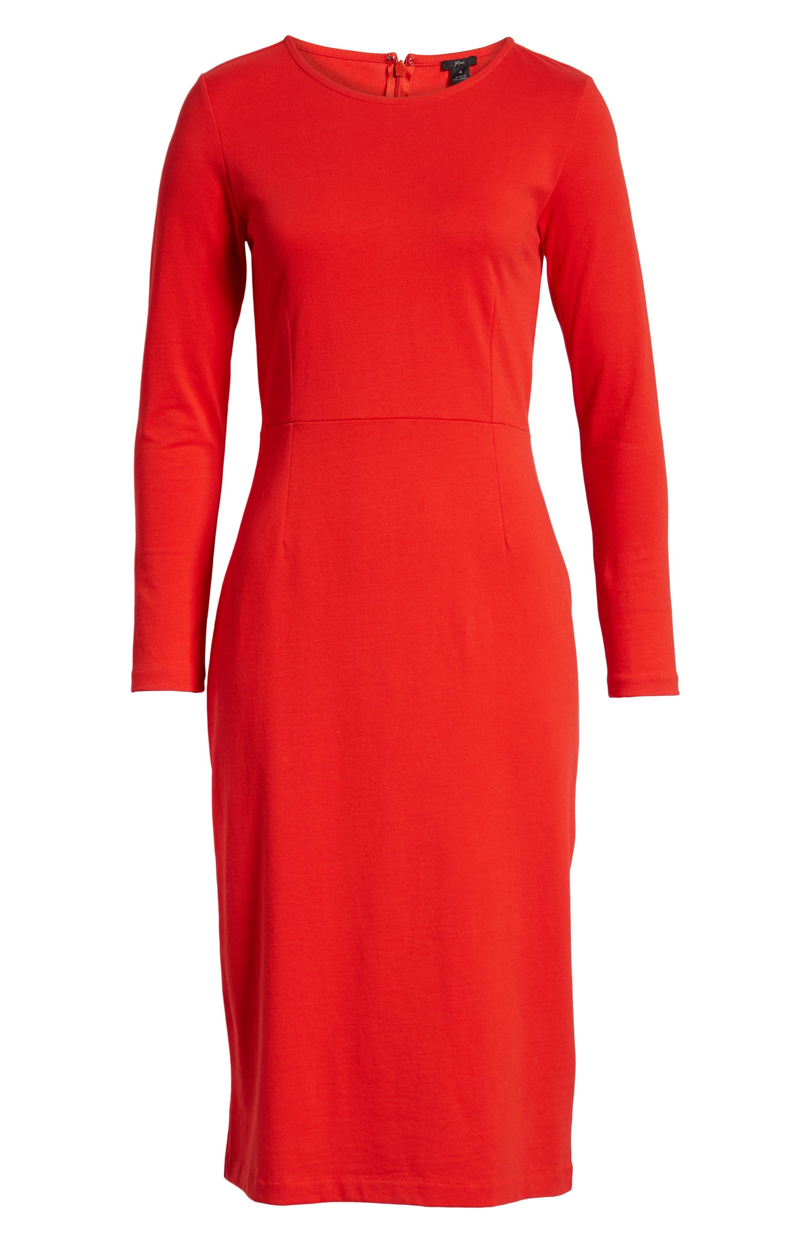 J.CREW, Knit Sheath Dress, Alternate thumbnail 9, color, BRIGHT CERISE