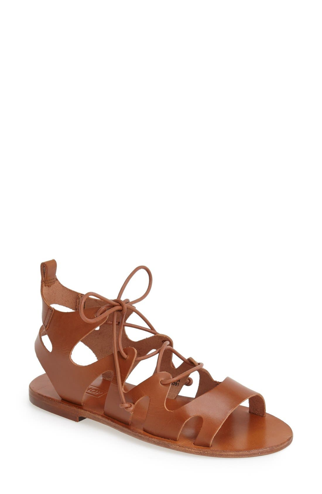 TOPSHOP, 'Fig' Cutout Lace-Up Gladiator Sandal, Main thumbnail 1, color, 210