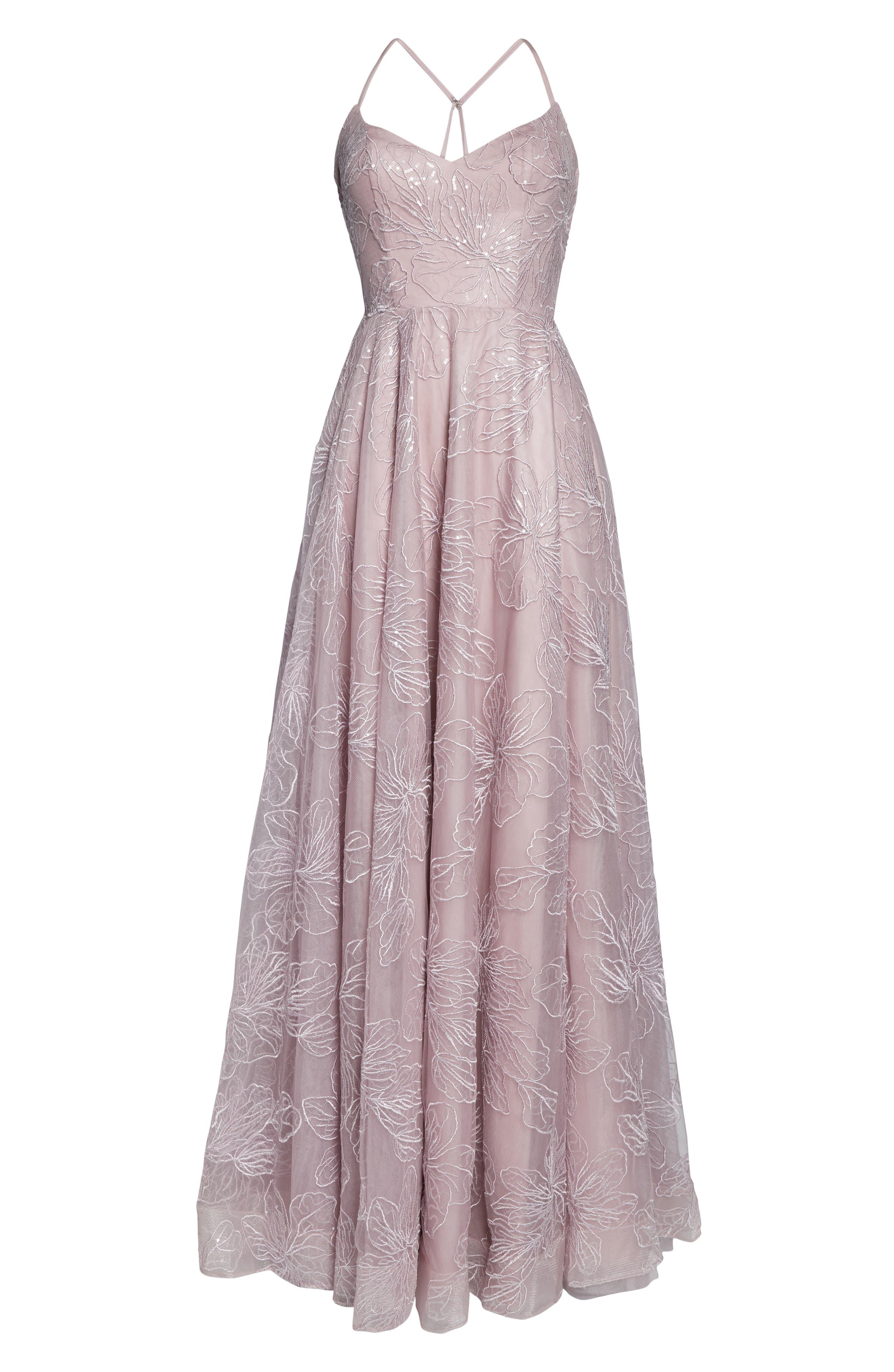 LA FEMME, Metallic Floral Embellished Evening Dress, Alternate thumbnail 8, color, MAUVE