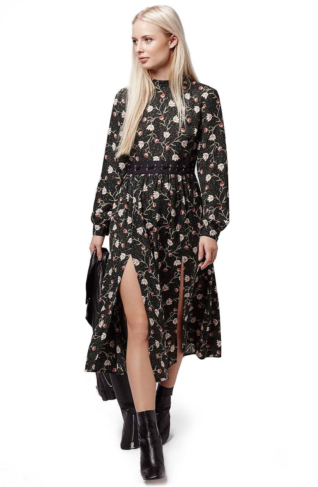 TOPSHOP, Tulip Print Midi Dress, Alternate thumbnail 3, color, 301