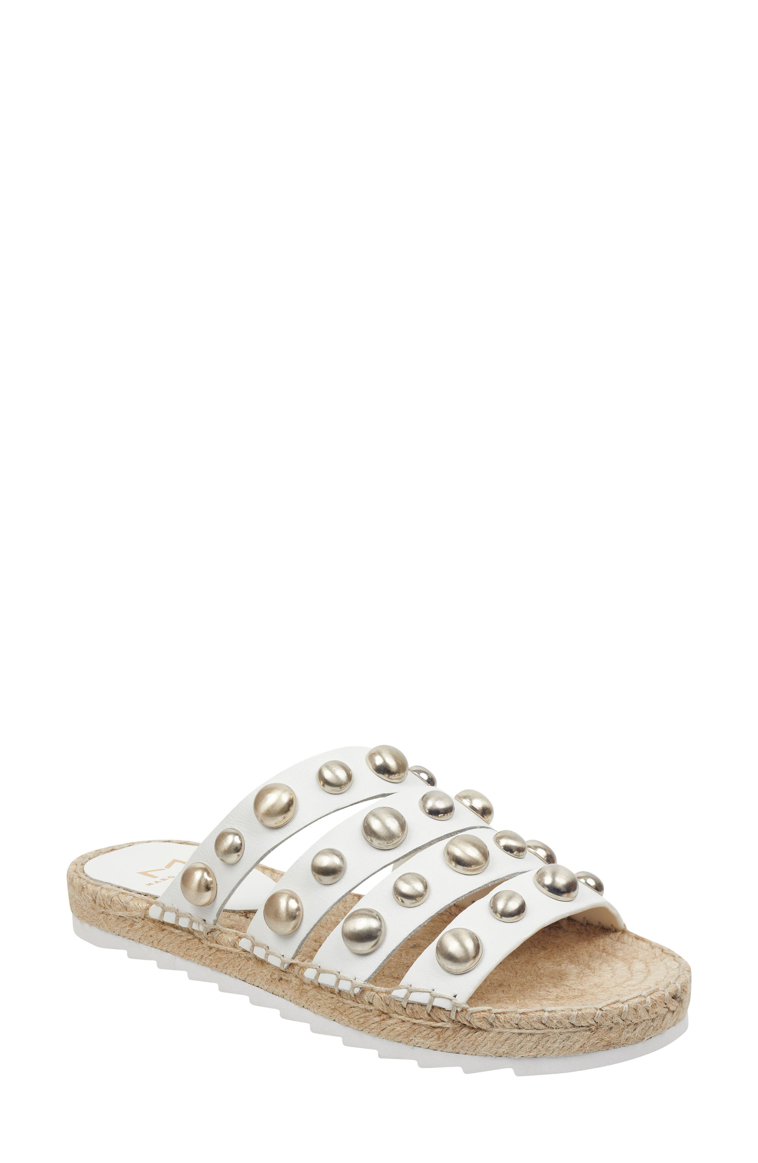 Marc Fisher Ltd Brandie Strappy Studded Slide Sandal, White