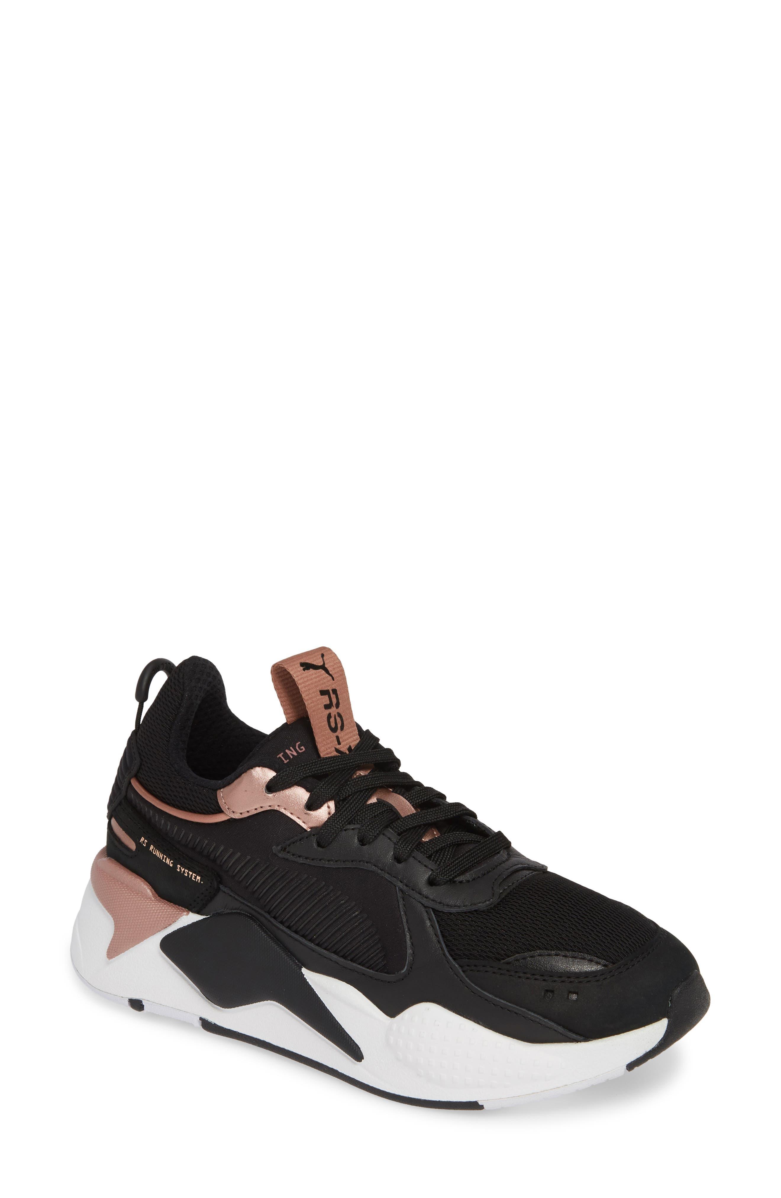 PUMA, RS-X Trophy Sneaker, Main thumbnail 1, color, BLACK/ ROSE GOLD