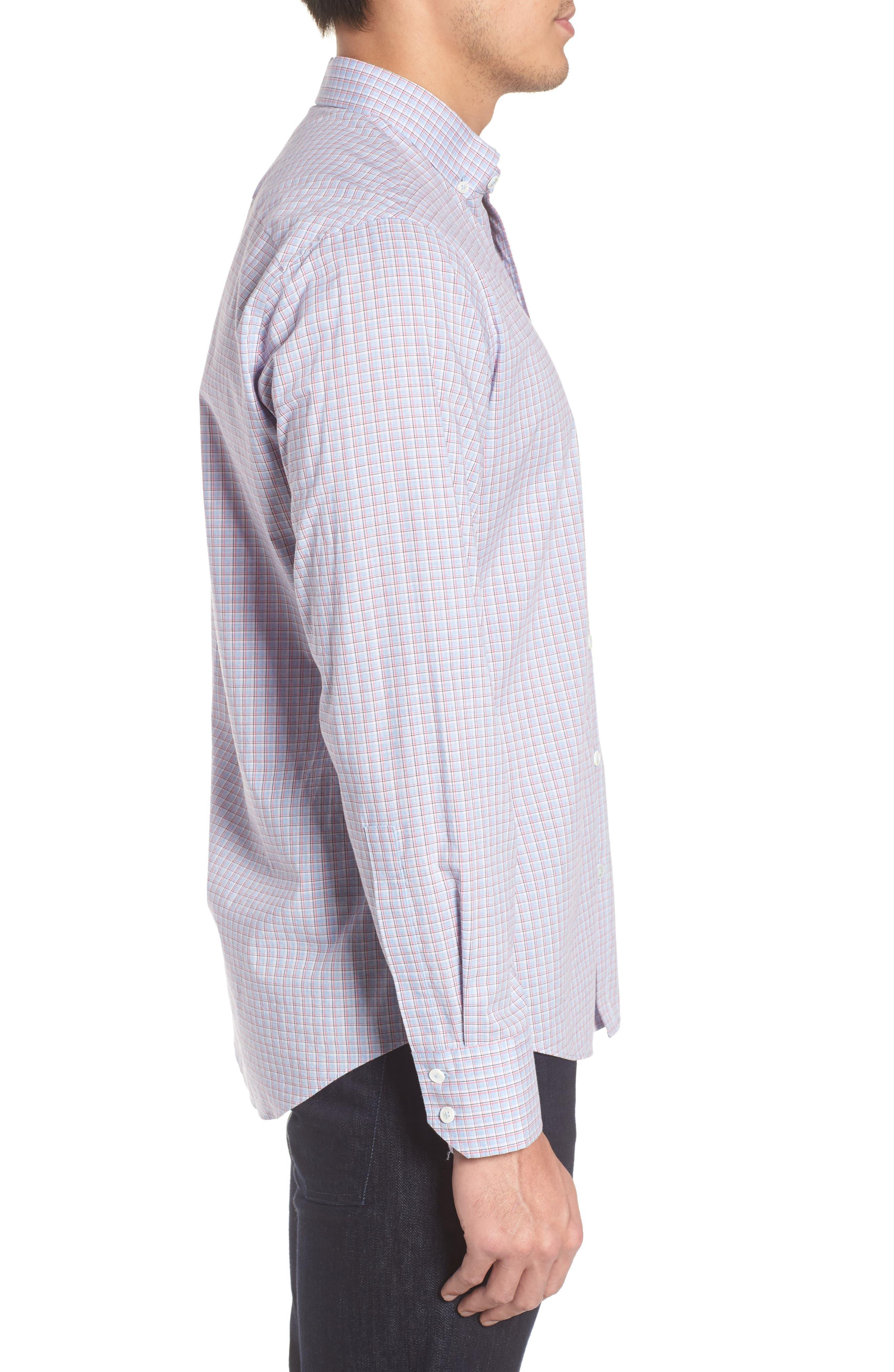 ZACHARY PRELL, Drozdov Regular Fit Plaid Sport Shirt, Alternate thumbnail 3, color, PINK