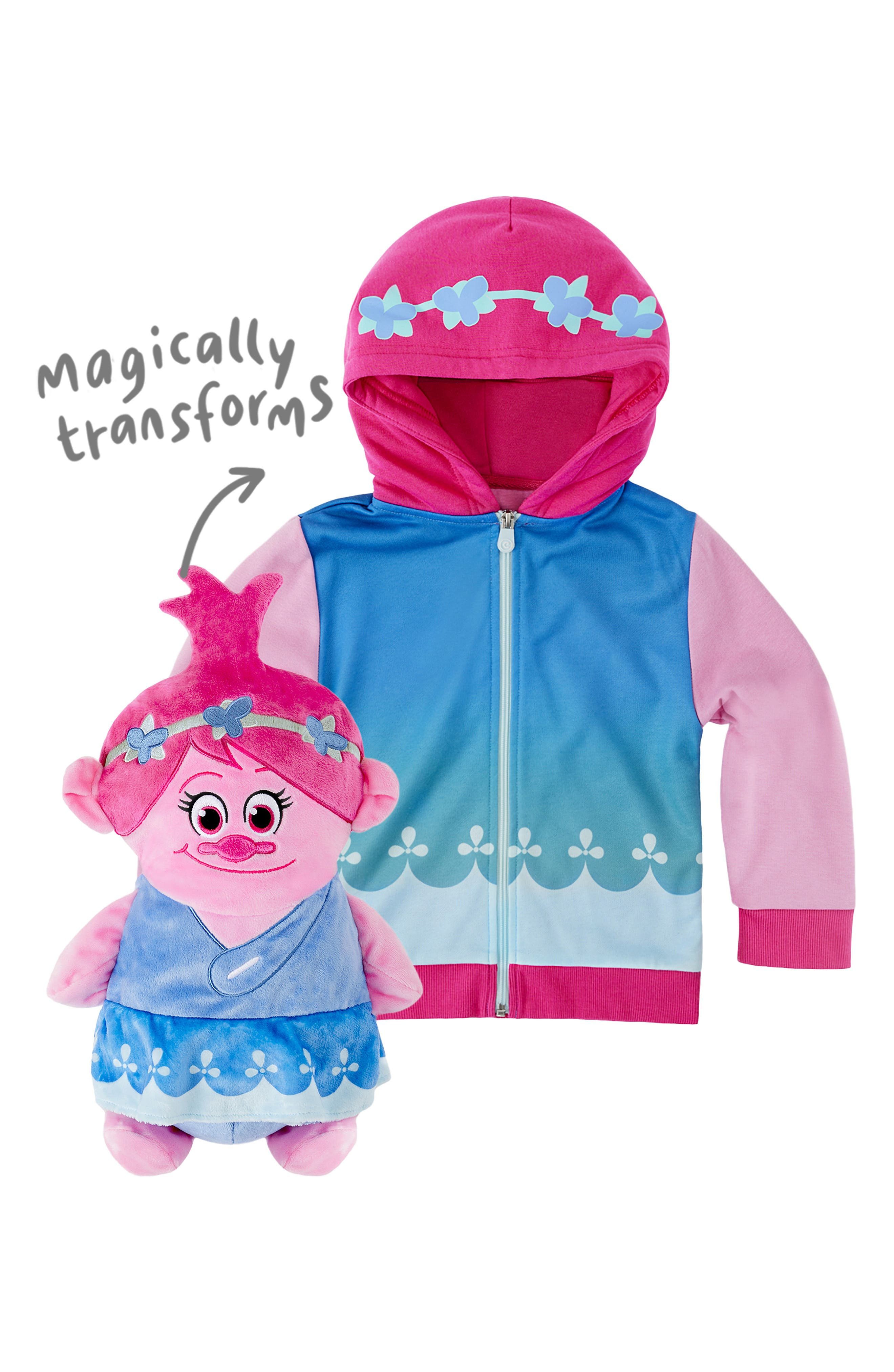 CUBCOATS, DreamWorks Trolls Poppy 2-in-1 Stuffed Animal Hoodie, Alternate thumbnail 3, color, PINK MIX