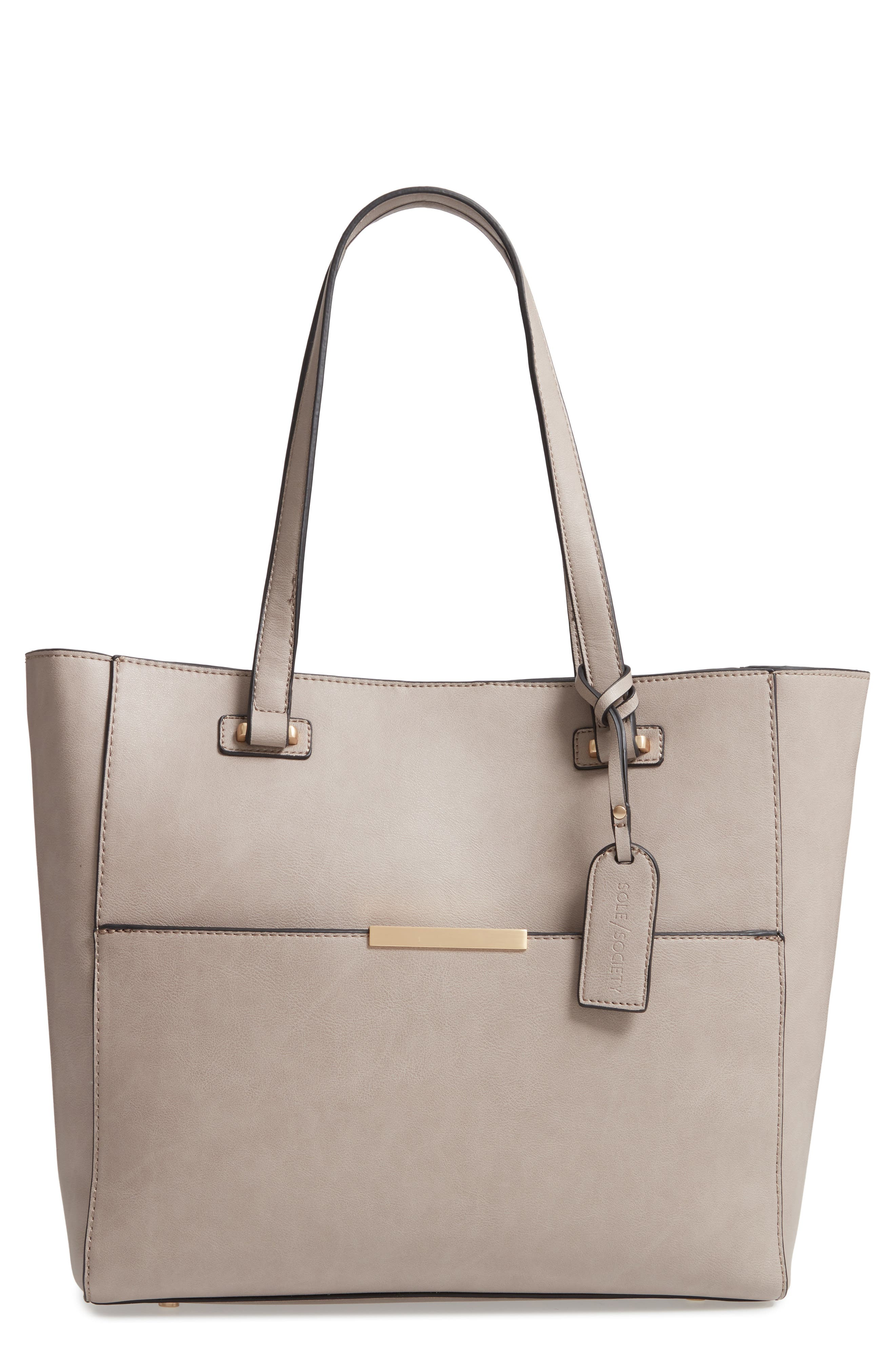 SOLE SOCIETY Alyn Faux Leather Tote, Main, color, GRAVEL