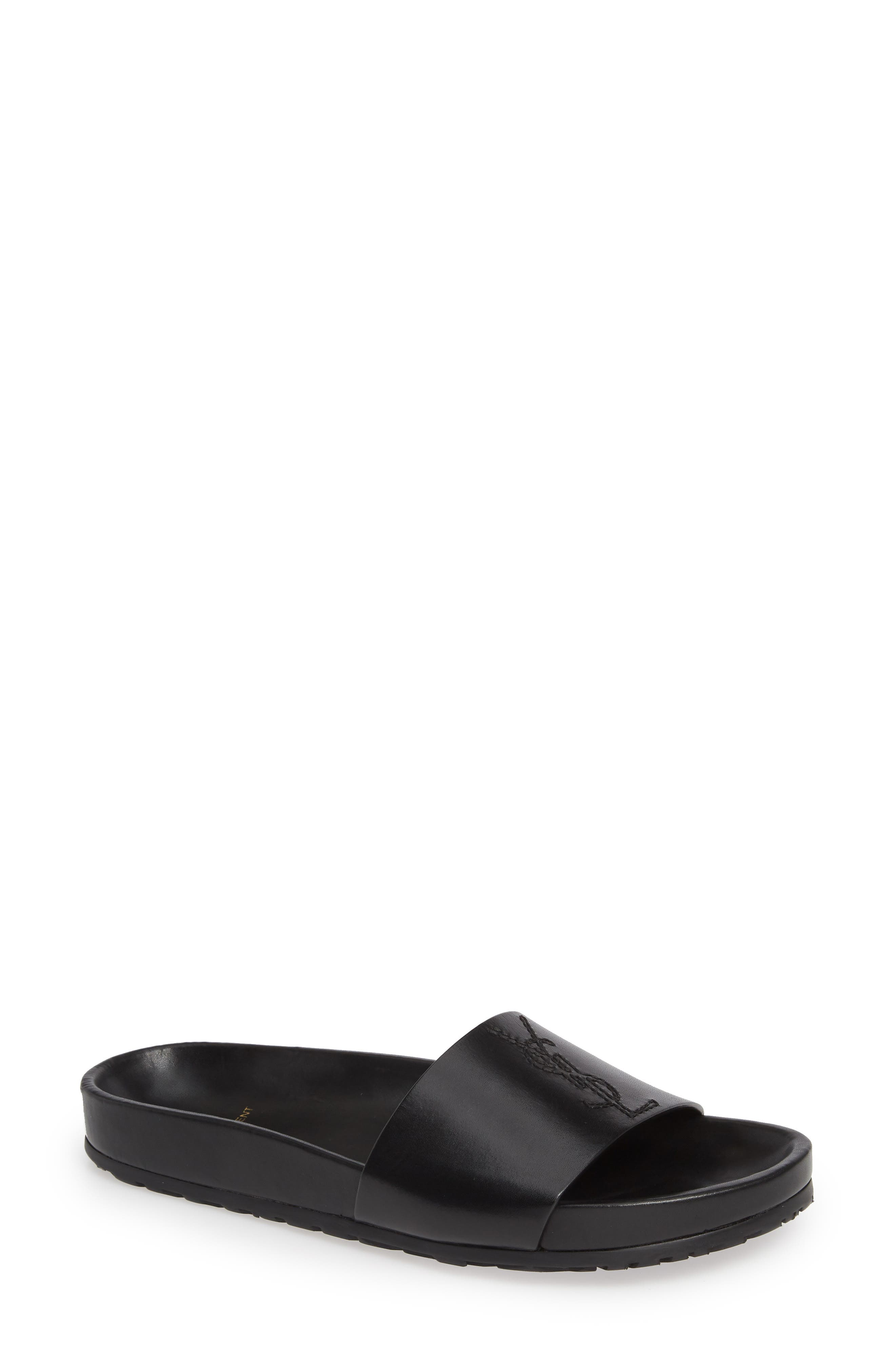SAINT LAURENT, Jimmy Logo Slide Sandal, Main thumbnail 1, color, BLACK LEATHER