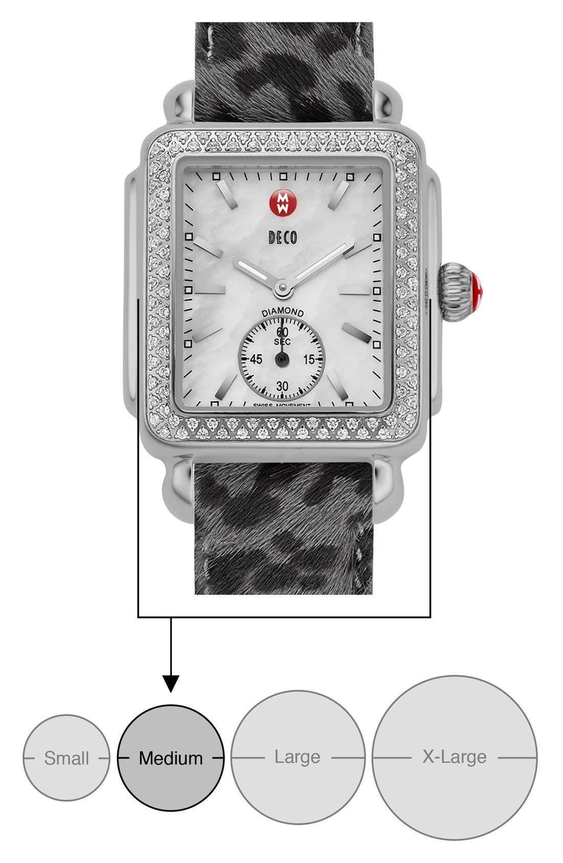 MICHELE, Deco 16 Diamond Watch Head, 29mm x 31mm, Alternate thumbnail 8, color, SILVER