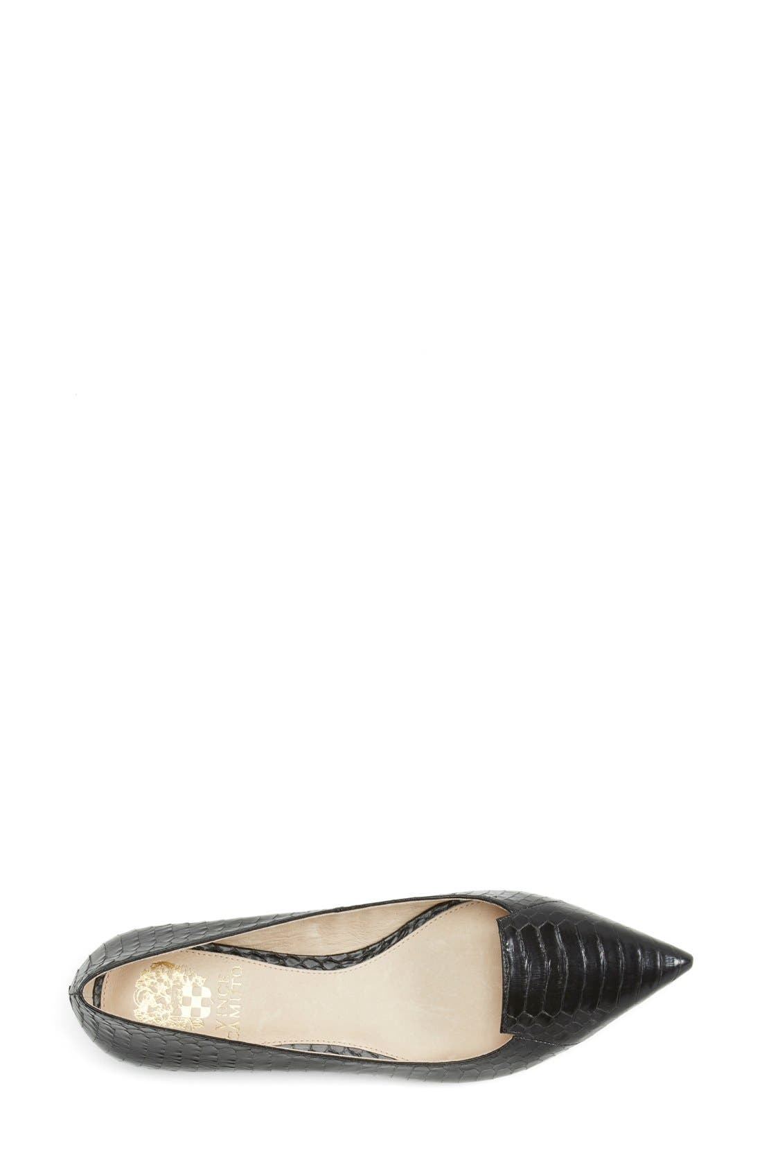 VINCE CAMUTO, 'Empa' Pointy Toe Loafer Flat, Alternate thumbnail 4, color, 001