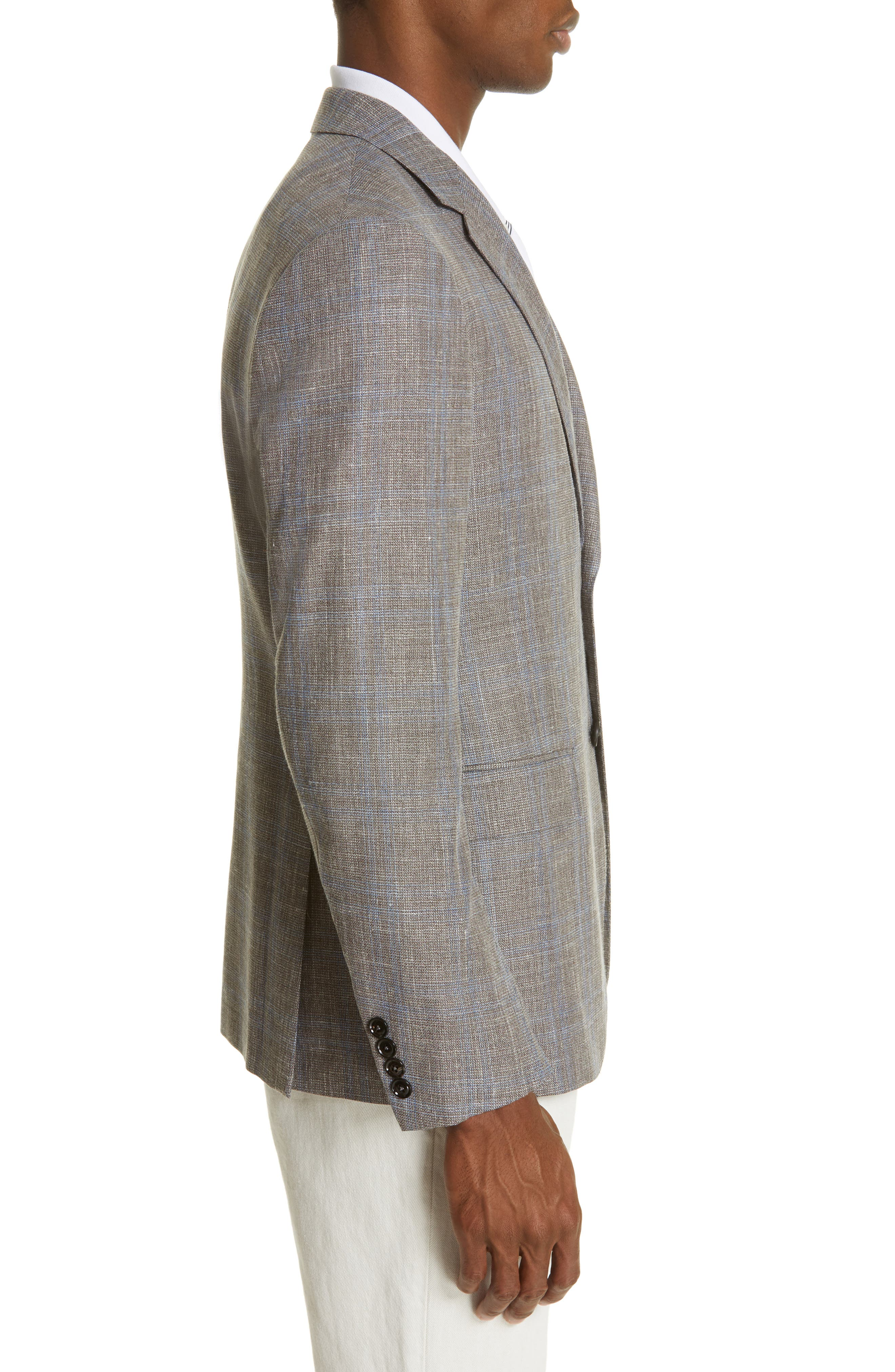 ERMENEGILDO ZEGNA, Milano Classic Fit Plaid Wool Blend Sport Coat, Alternate thumbnail 3, color, GREY