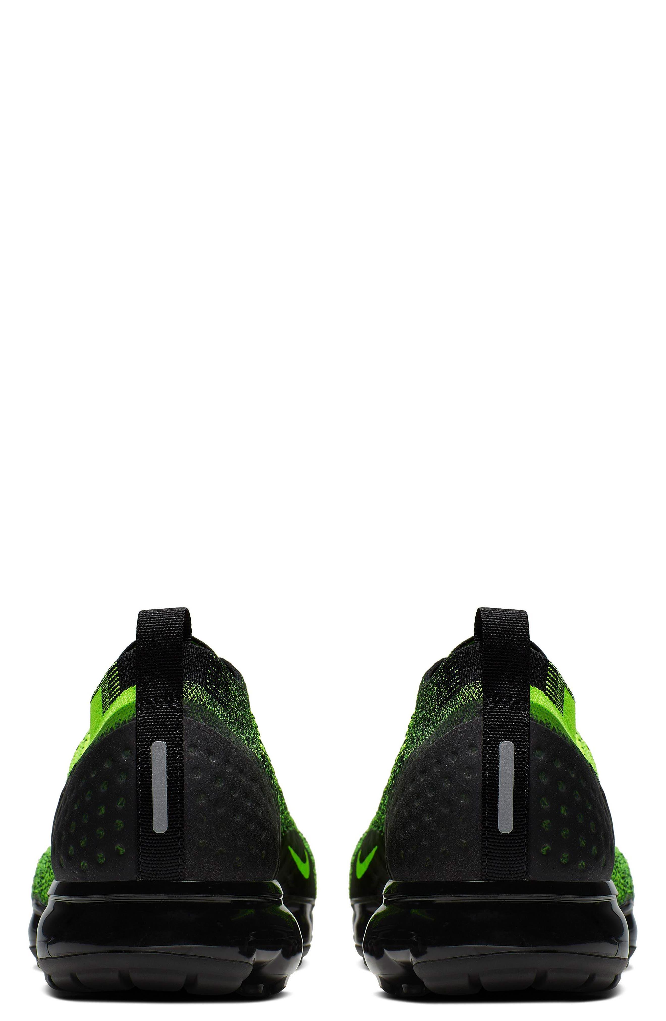 NIKE, Air VaporMax Flyknit 2 Running Shoe, Alternate thumbnail 2, color, VOLT/ BLACK/ VOLT