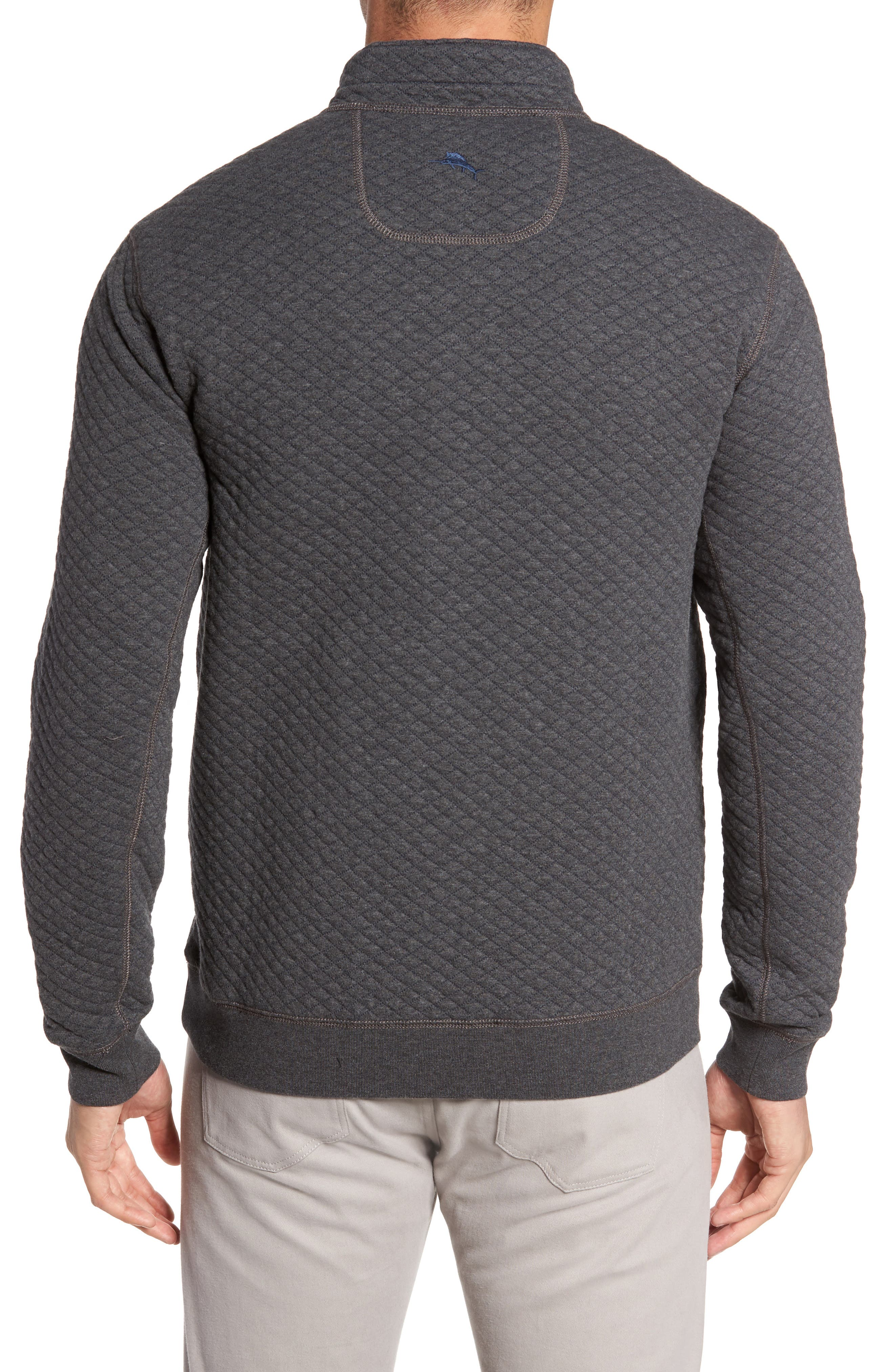 TOMMY BAHAMA, Quiltessential Standard Fit Quarter Zip Pullover, Alternate thumbnail 2, color, CHARCOAL HEATHER