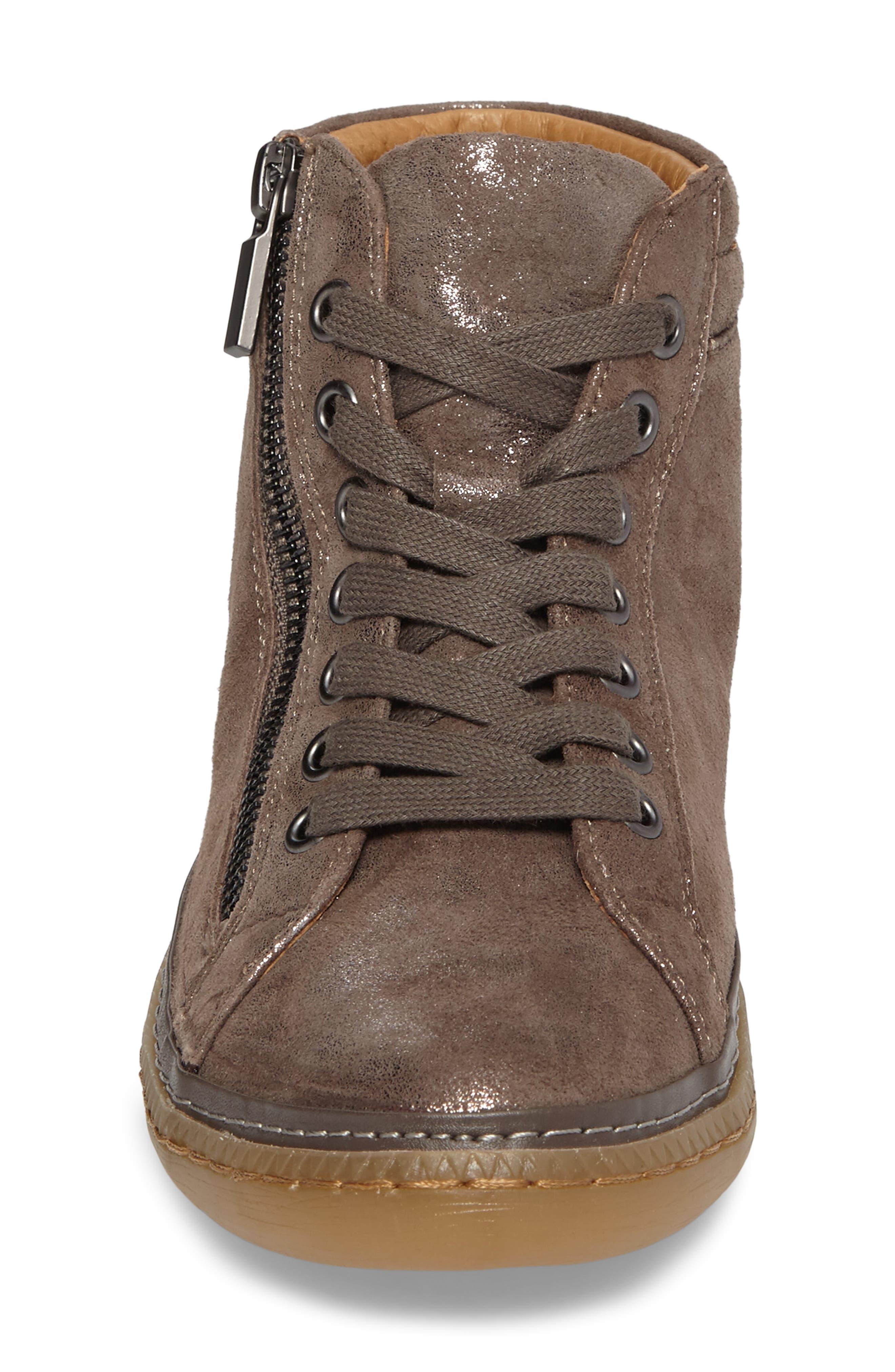 SÖFFT, Annaleigh High Top Sneaker, Alternate thumbnail 4, color, SMOKE FOIL SUEDE