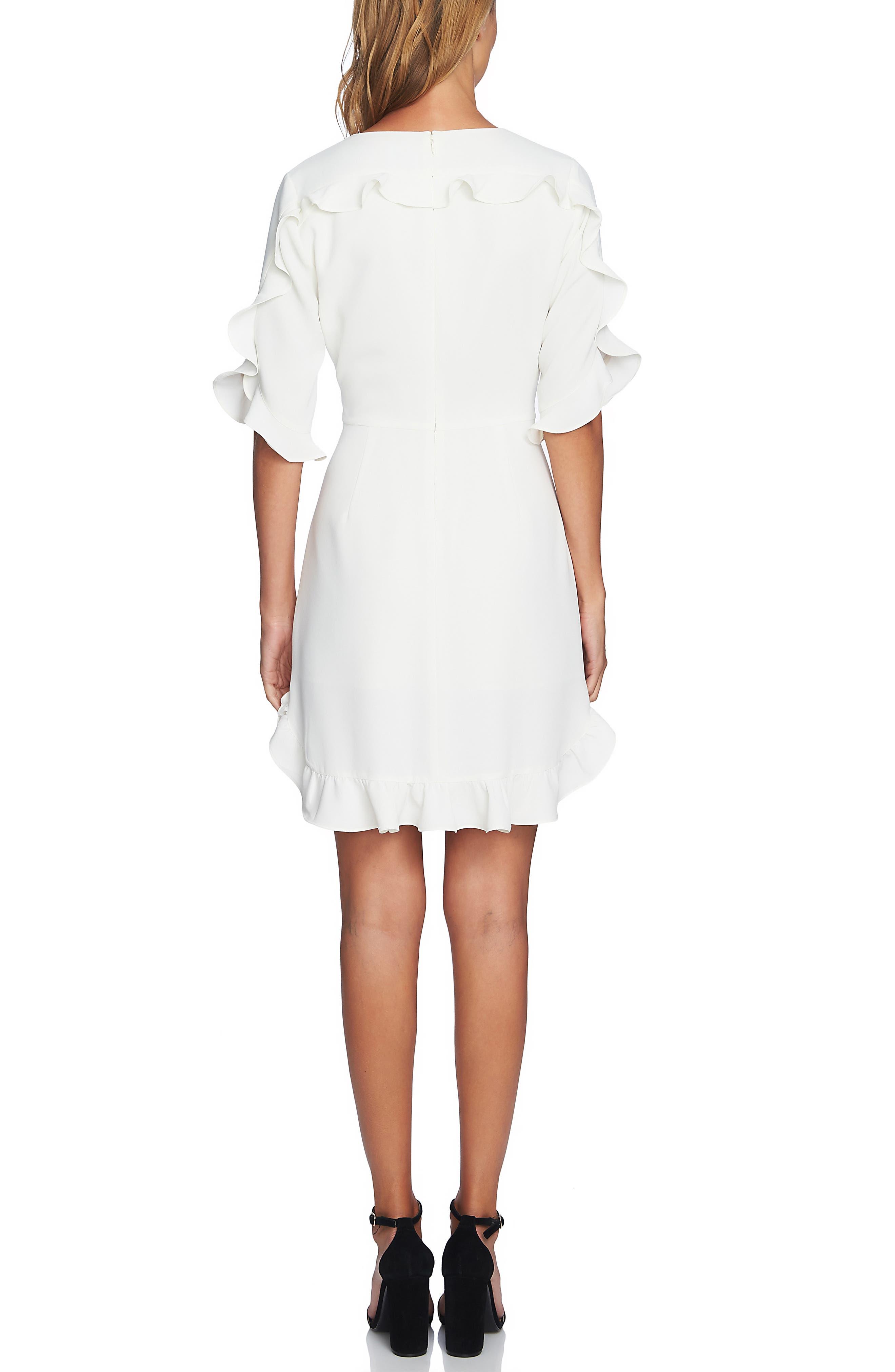 CECE, Ruffle V-Neck A-Line Dress, Alternate thumbnail 2, color, ANTIQUE WHITE