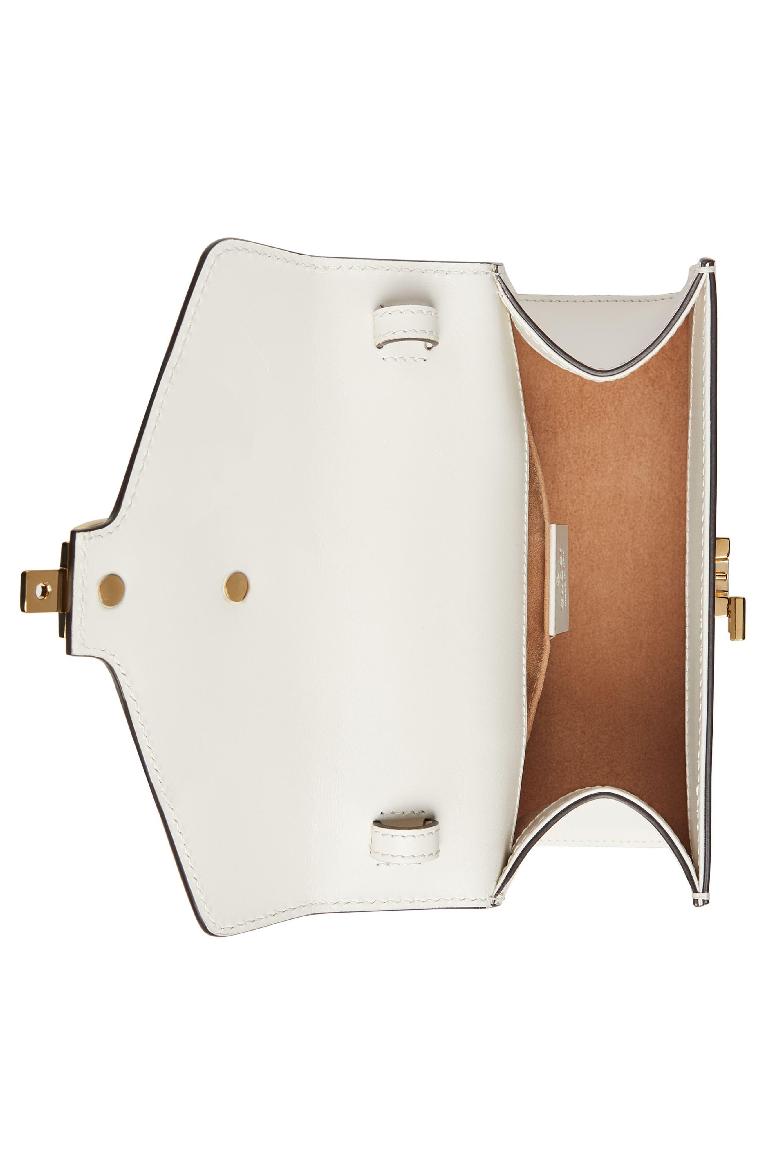GUCCI, Mini Sylvie Top Handle Leather Shoulder Bag, Alternate thumbnail 3, color, MYSTIC WHITE