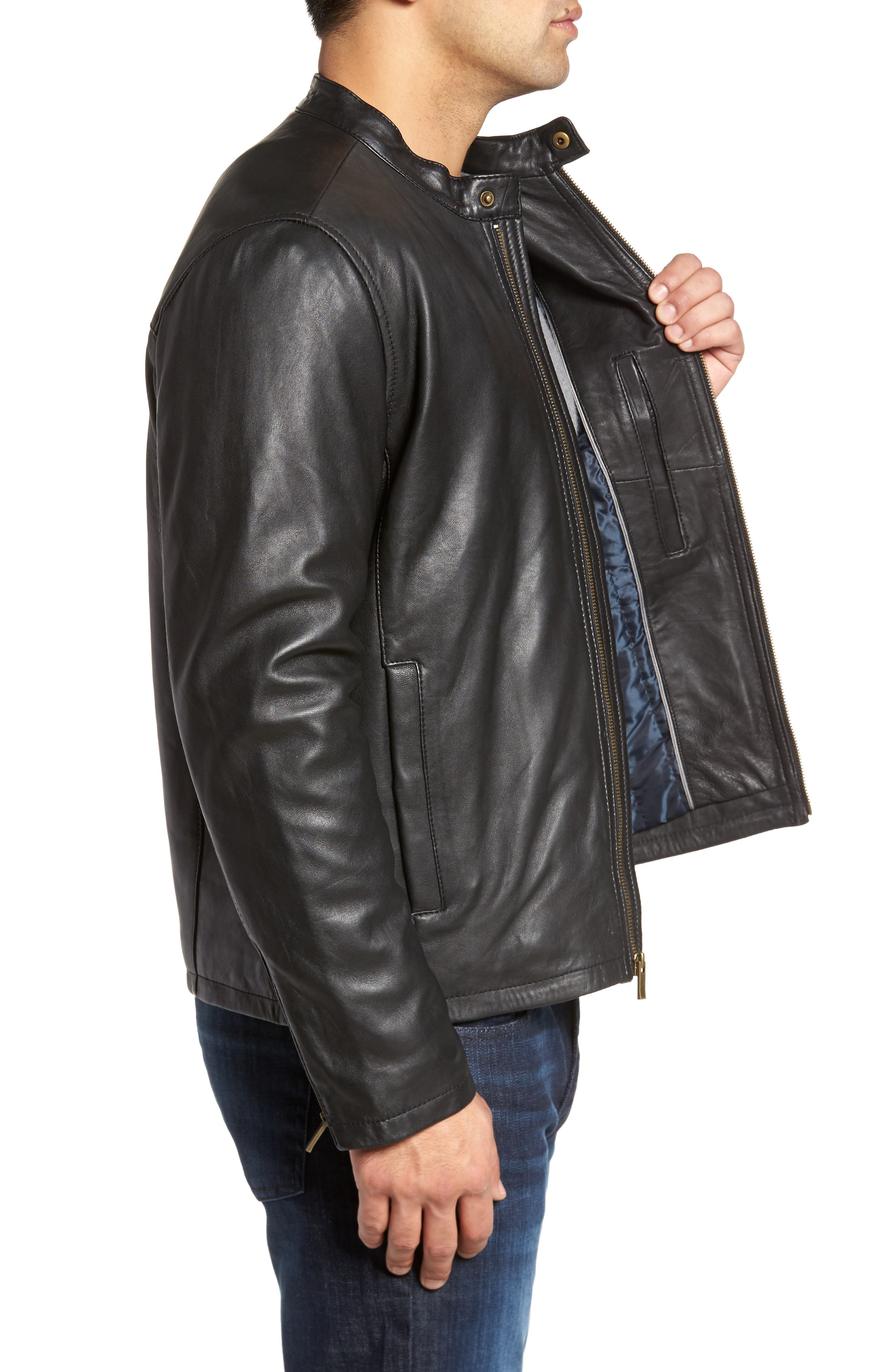 COLE HAAN, Lambskin Leather Moto Jacket, Alternate thumbnail 4, color, 001