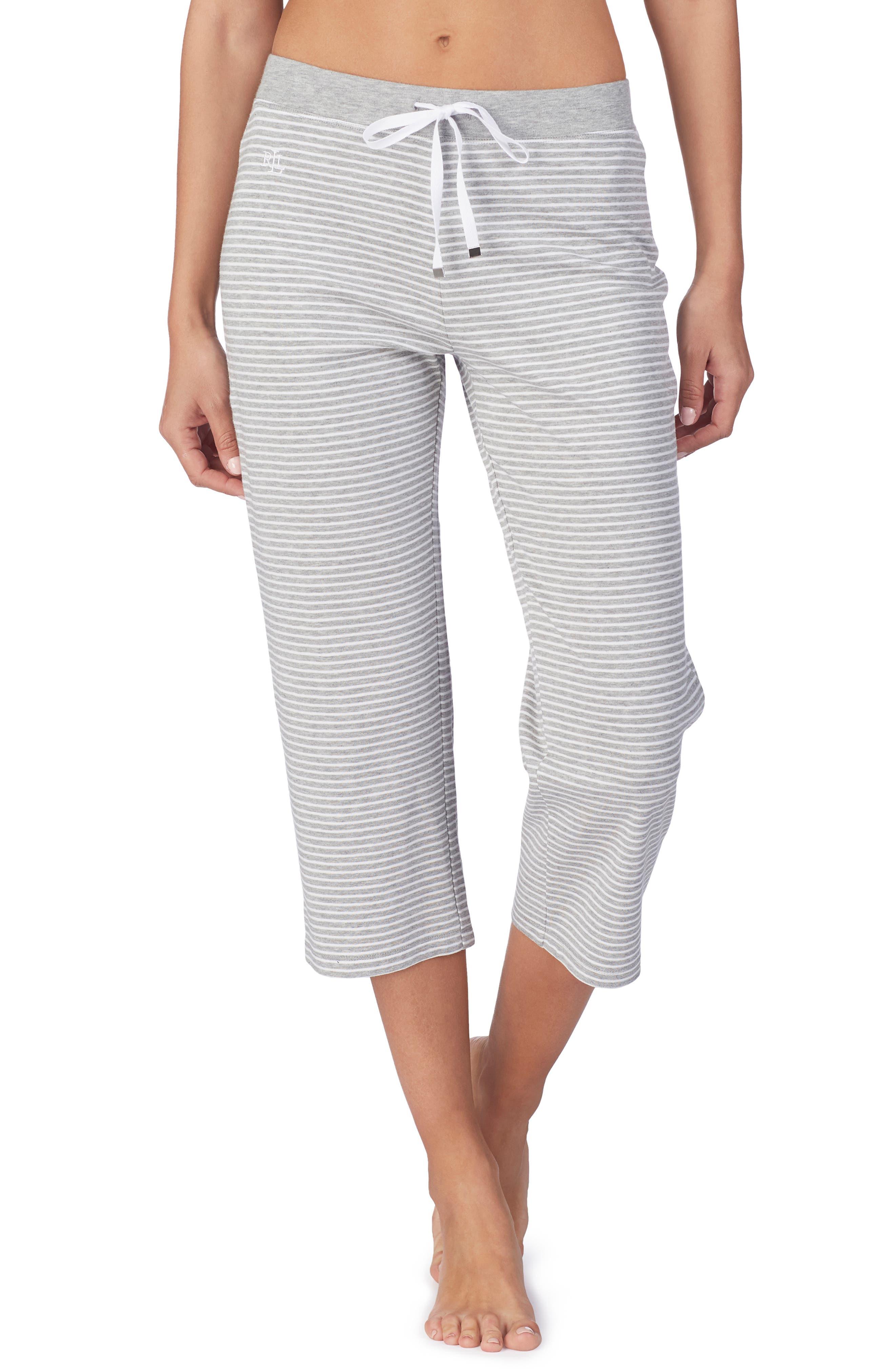 LAUREN RALPH LAUREN Capri Pajama Pants, Main, color, GREY STRIPE