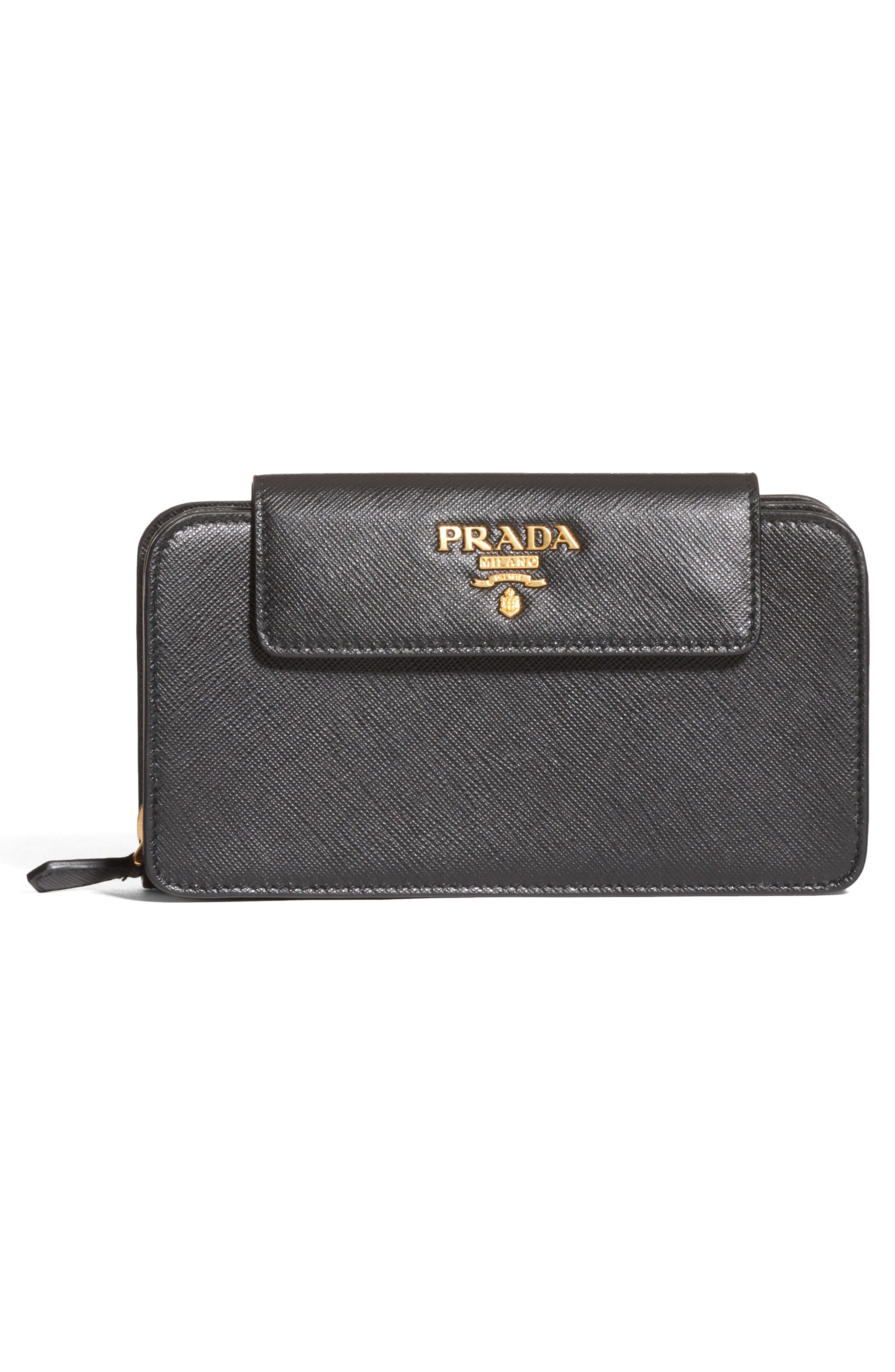 PRADA, Saffiano Leather Wallet on a Chain, Alternate thumbnail 3, color, NERO