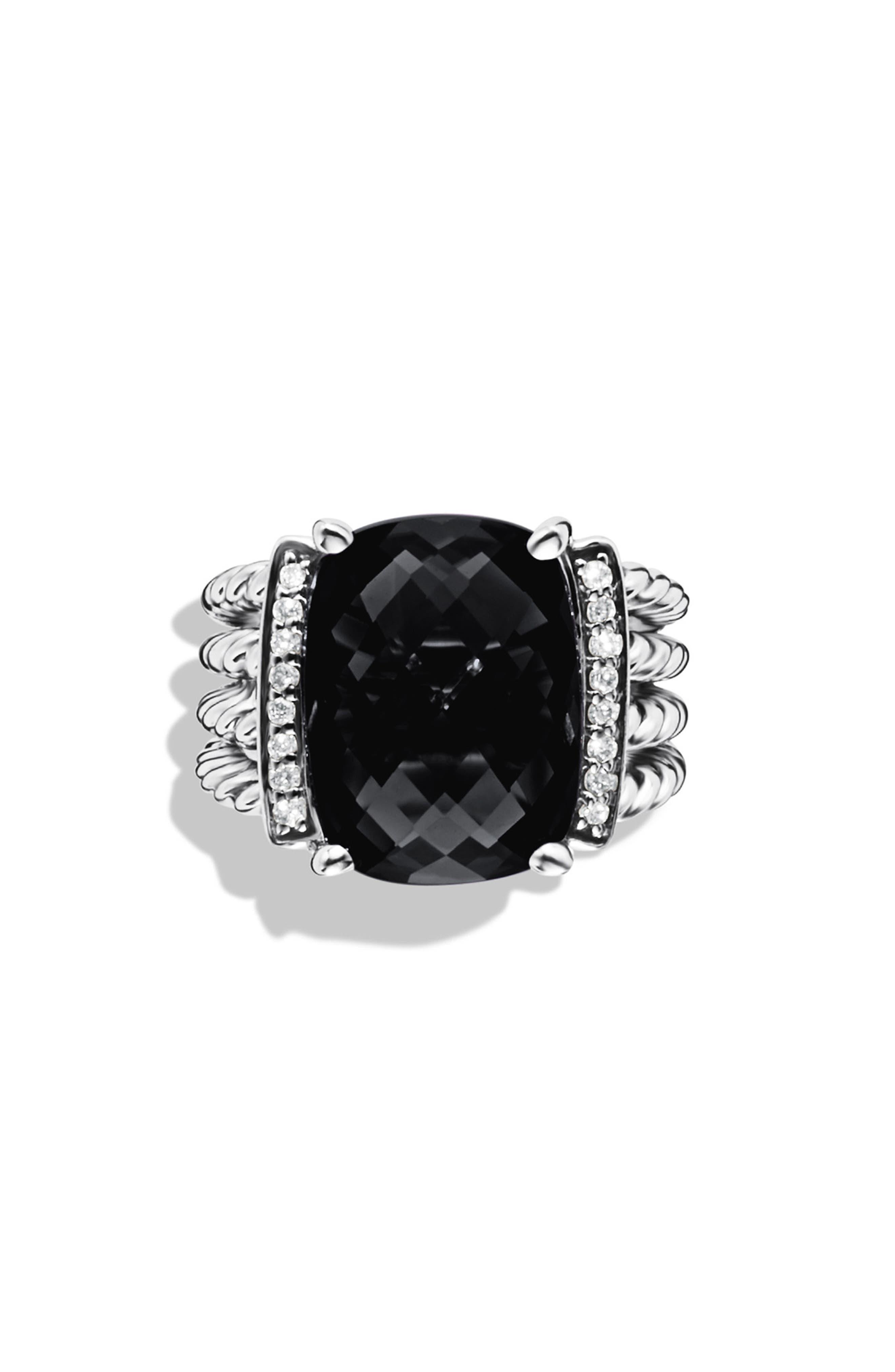 DAVID YURMAN, 'Wheaton' Ring with Semiprecious Stone & Diamonds, Main thumbnail 1, color, BLACK ONYX