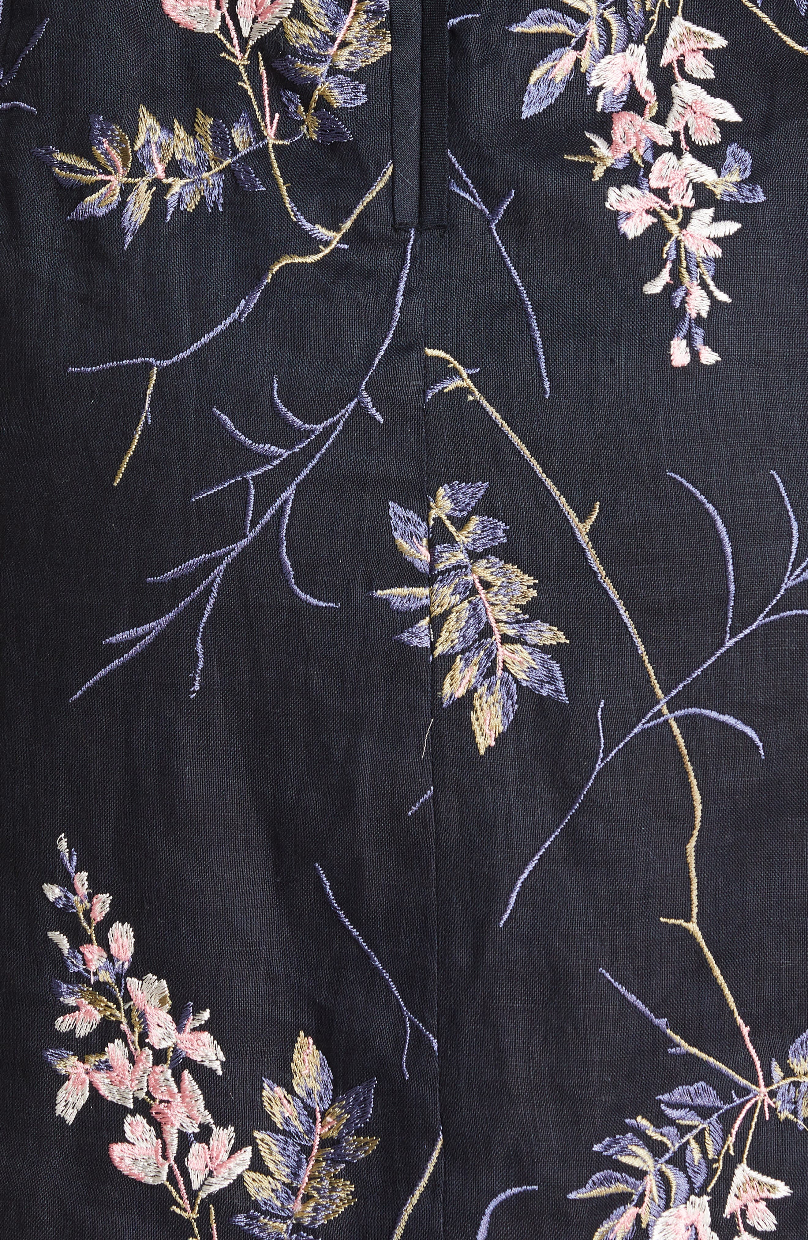 REBECCA TAYLOR, Ivie Off the Shoulder Embroidered Detail Linen Dress, Alternate thumbnail 5, color, NAVY COMBO